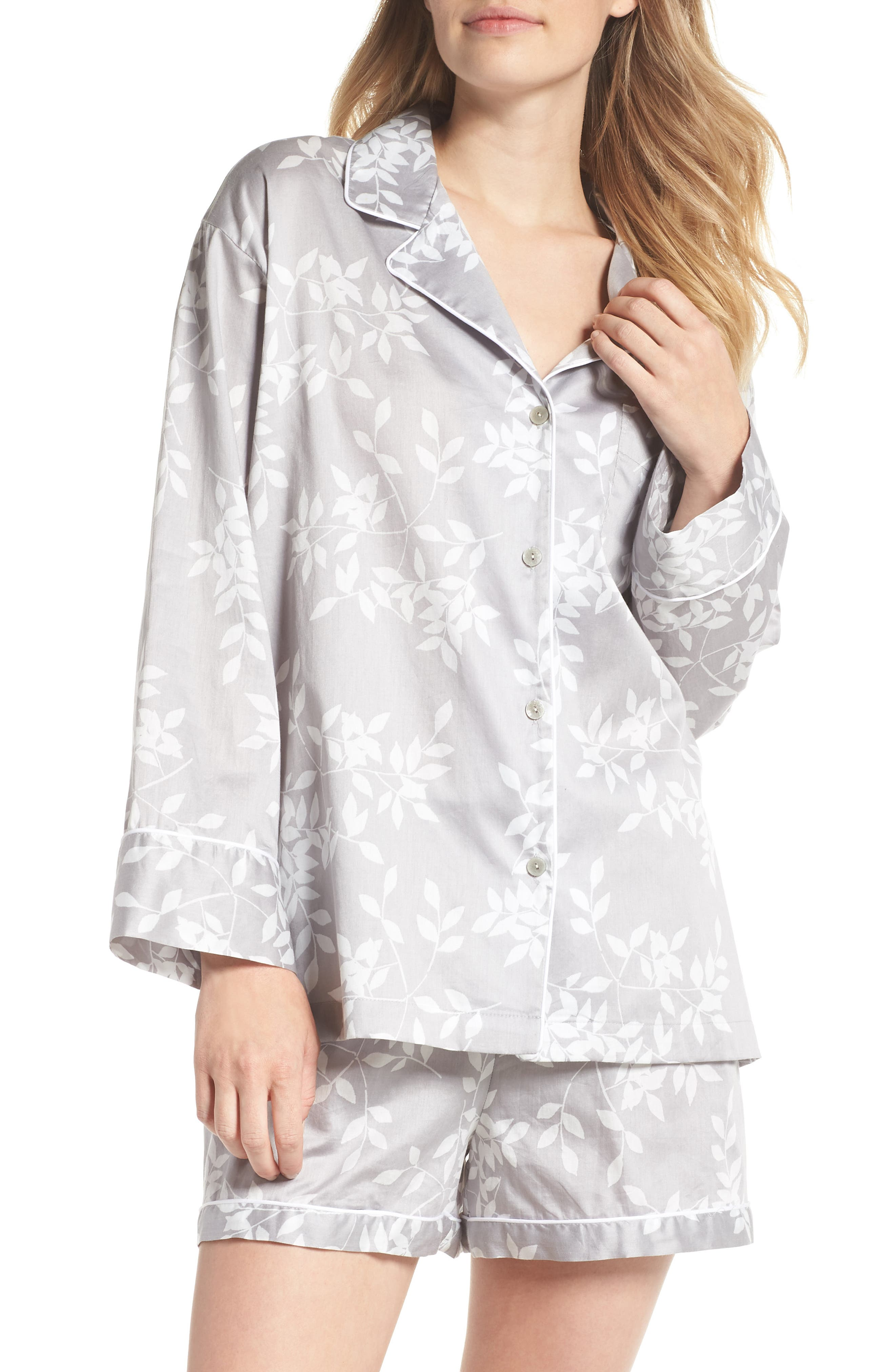 Branch Print Cotton Sateen Short Pajamas,                             Main thumbnail 1, color,                             021