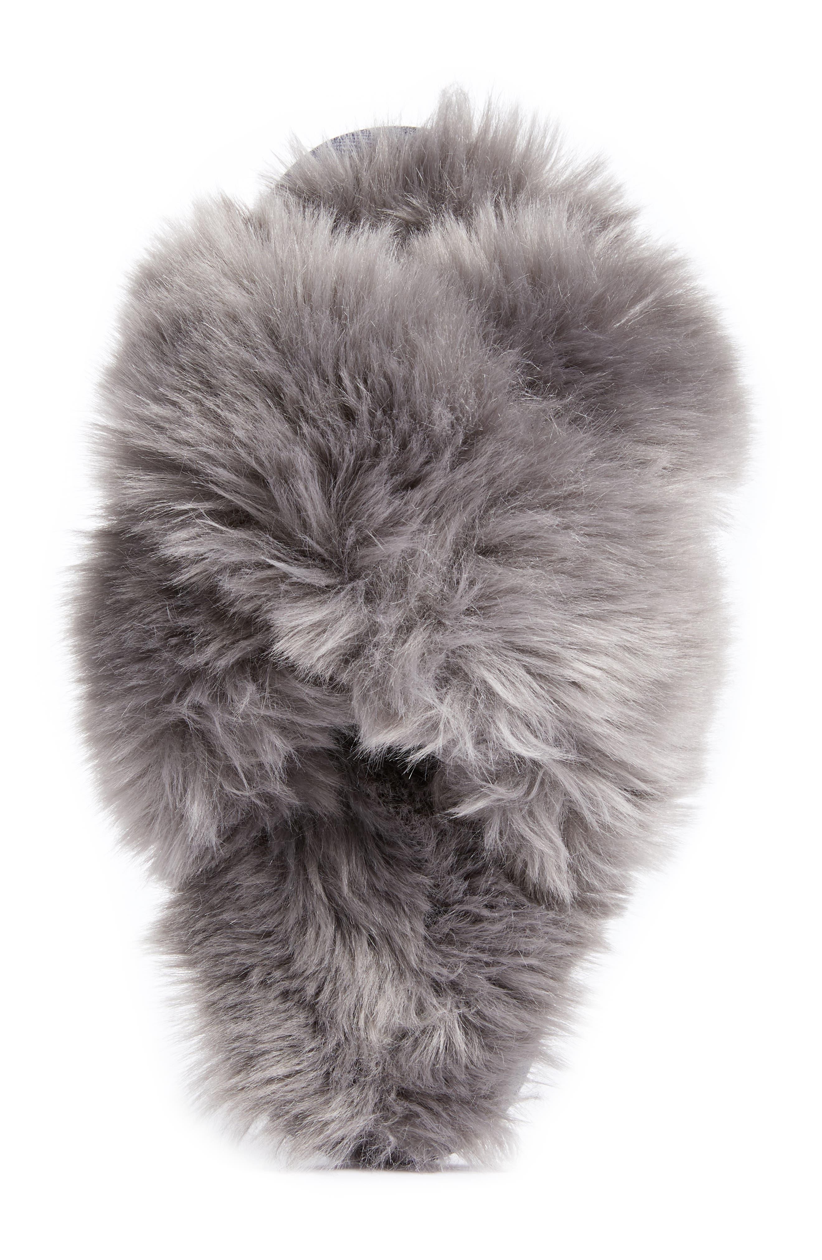 Cuddle Plush Faux Fur Scuff Slipper,                             Alternate thumbnail 5, color,                             GREY ASPHALT