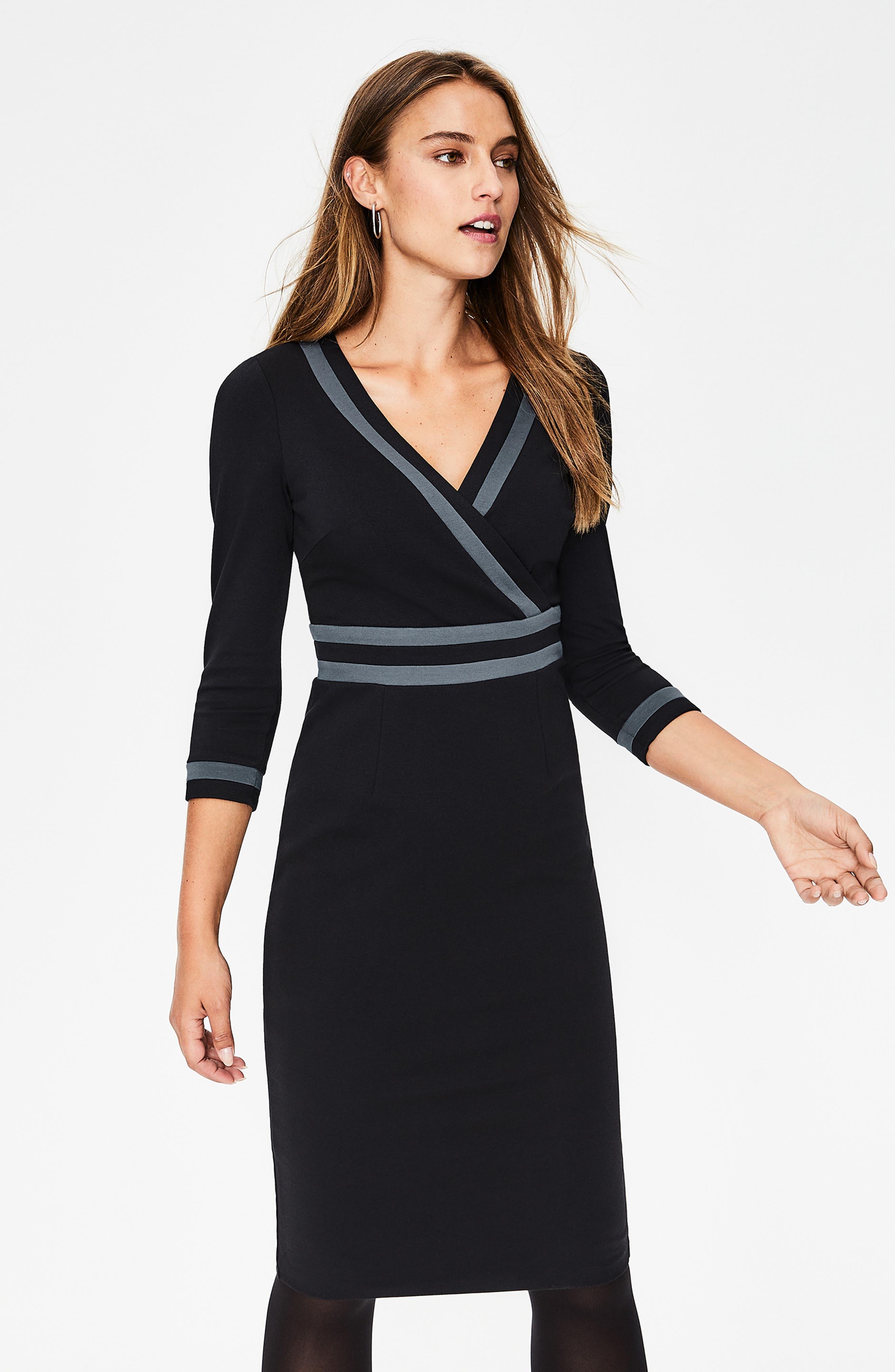 Nellie Ponte Knit Dress,                             Alternate thumbnail 5, color,                             BLACK
