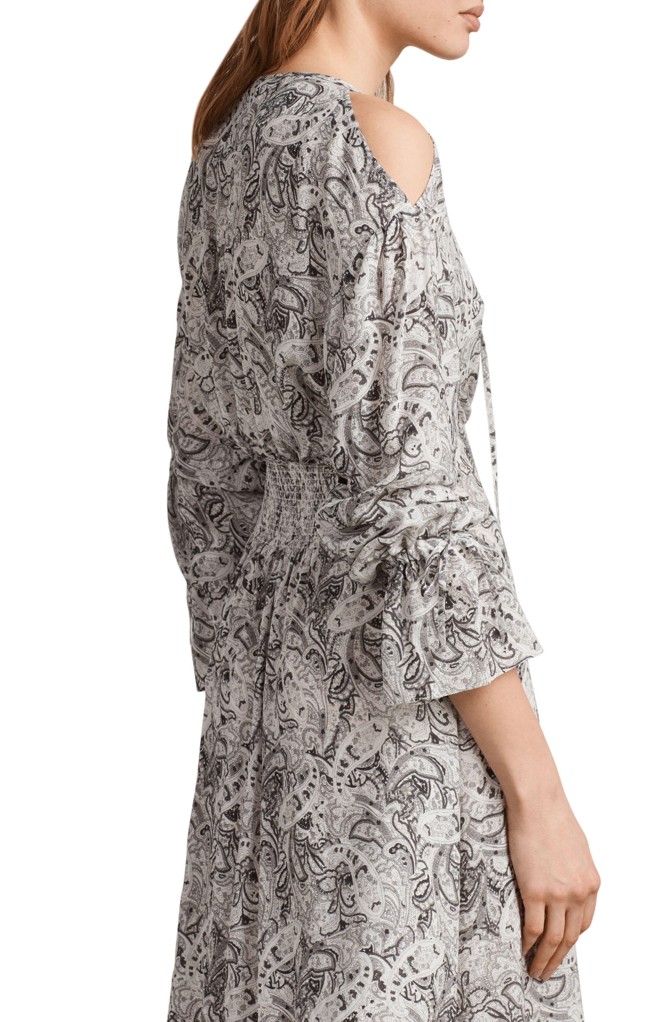 Lavete Paisley Cold Shoulder Midi Dress,                             Alternate thumbnail 6, color,                             100