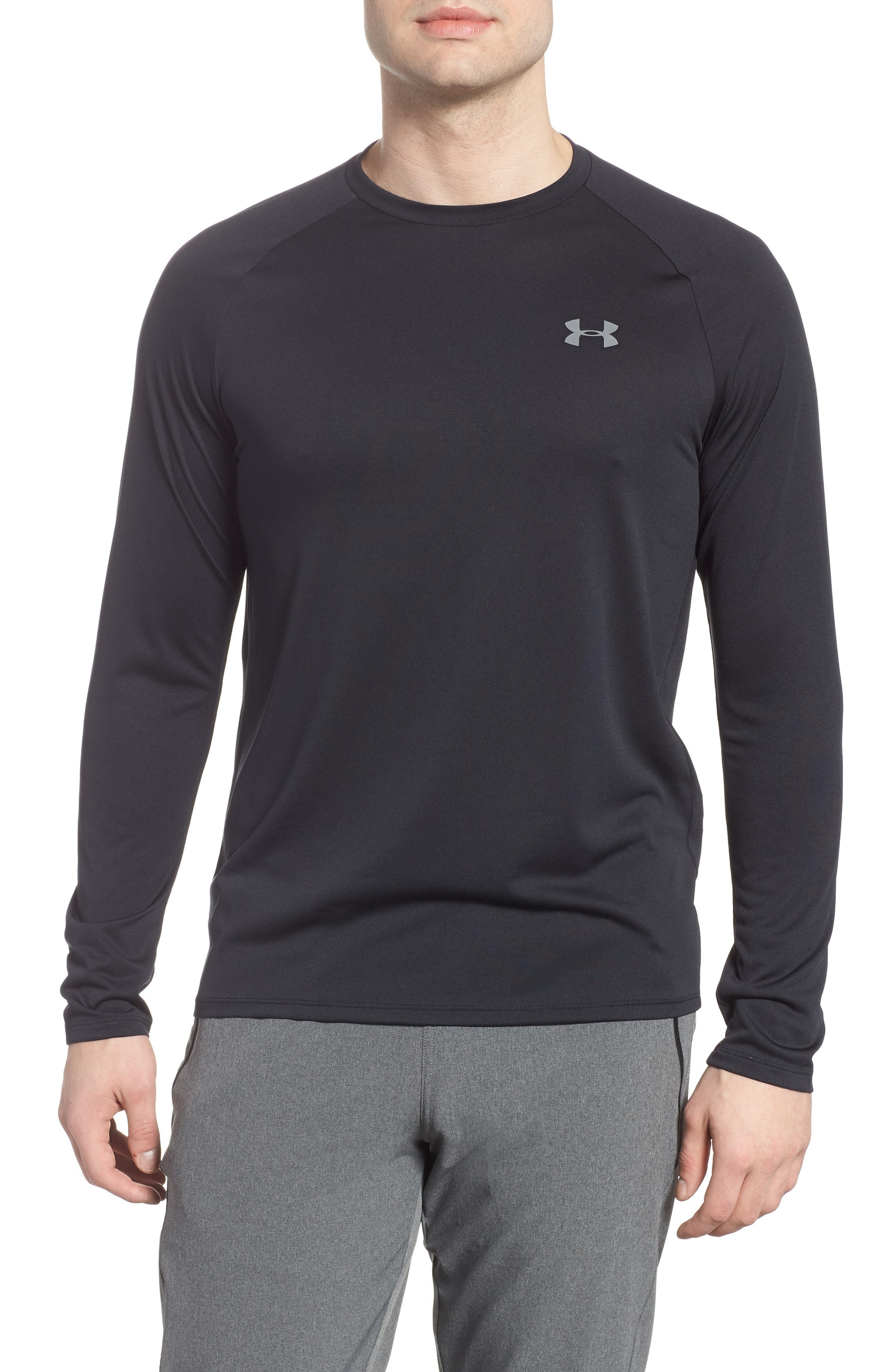 Performance Tech Long Sleeve Shirt,                         Main,                         color, BLACK/ STEEL