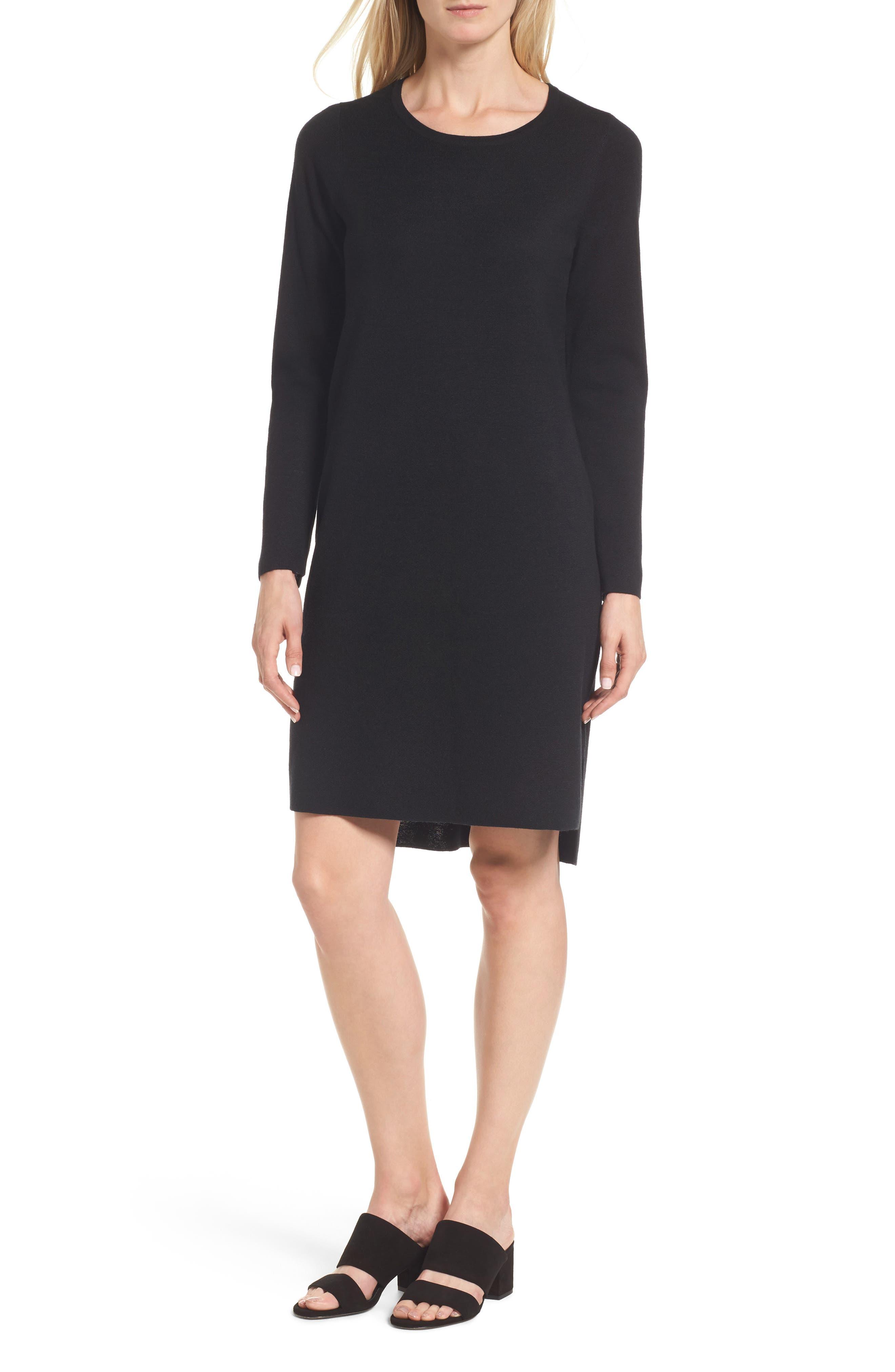 Merino Wool Sweater Dress,                         Main,                         color, 001