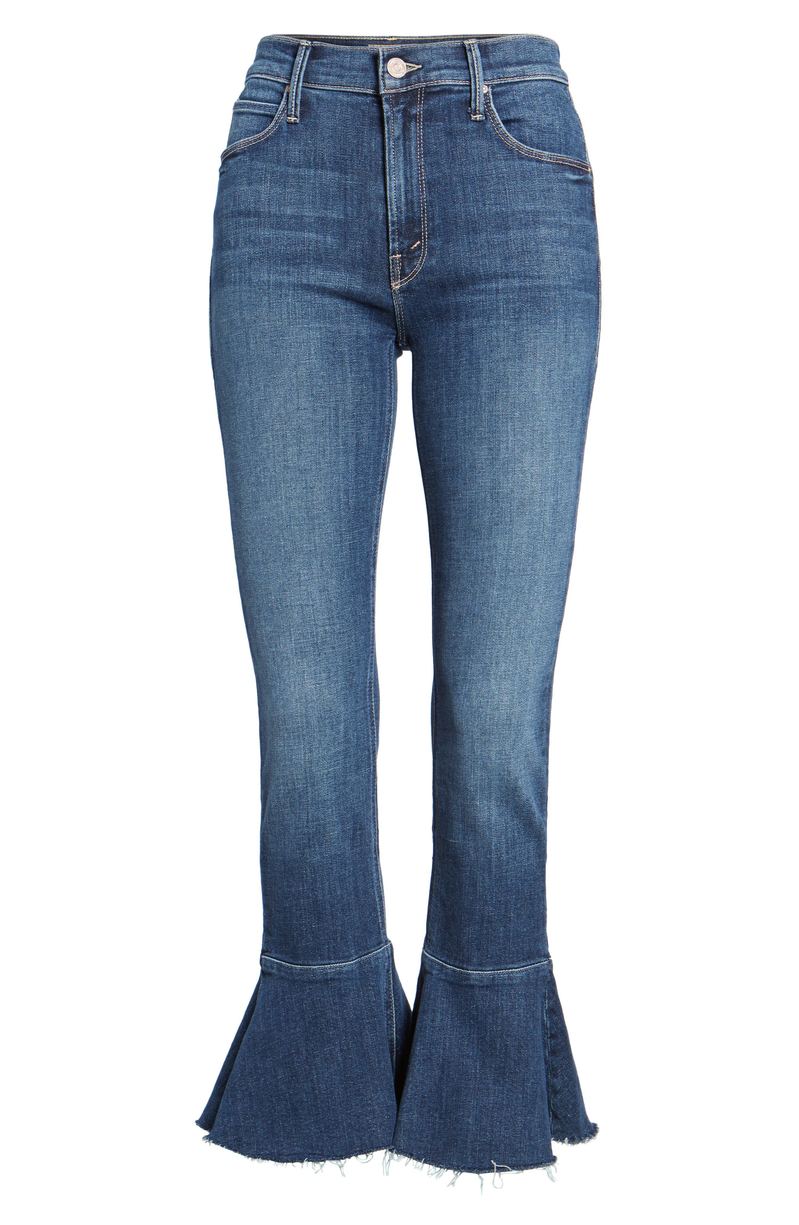 The Cha Cha Fray Flare Crop Jeans,                             Alternate thumbnail 6, color,                             GIRL CRUSH