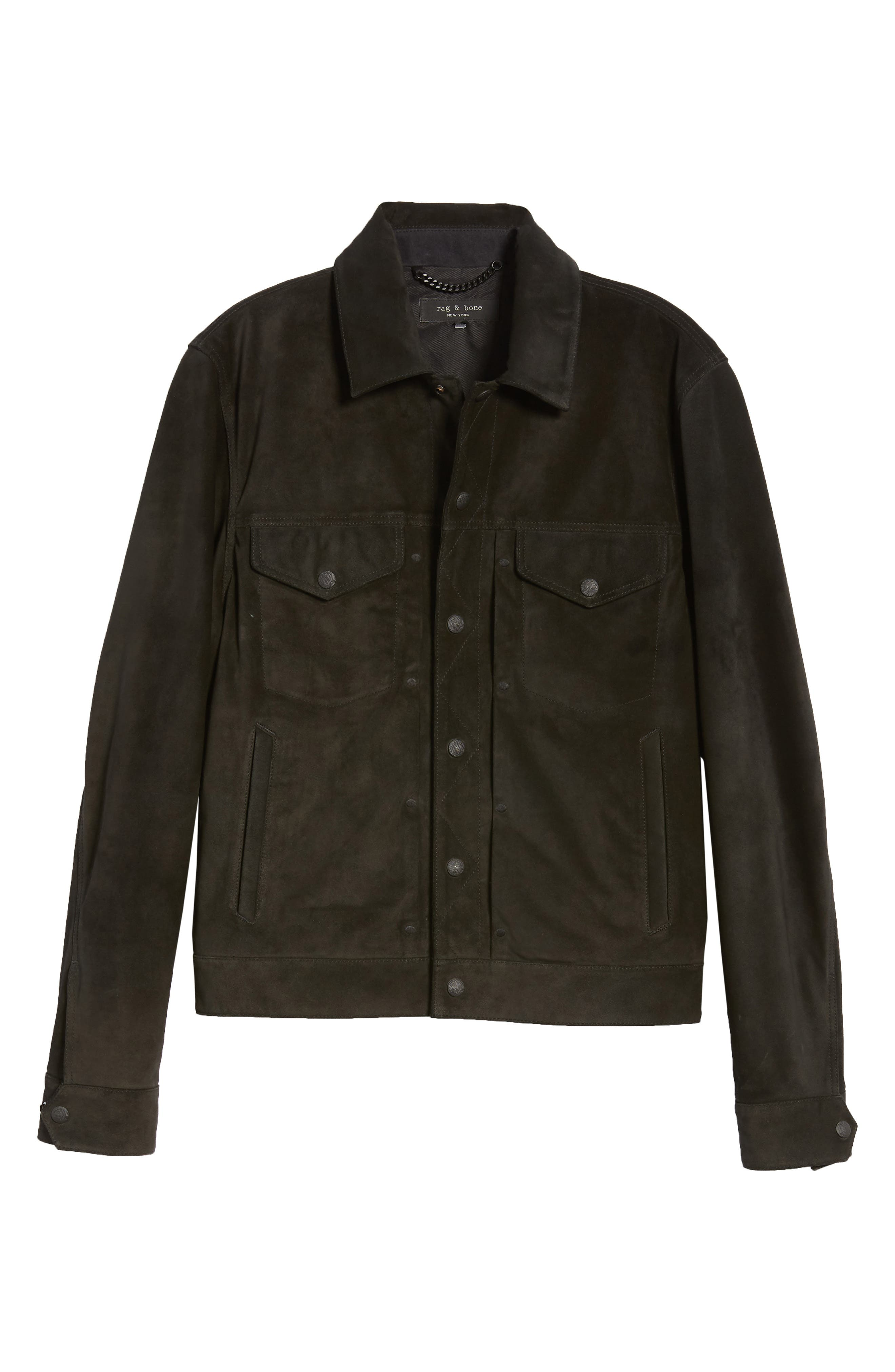 Suede Slim Fit Trucker Jacket,                             Alternate thumbnail 6, color,                             BLACK