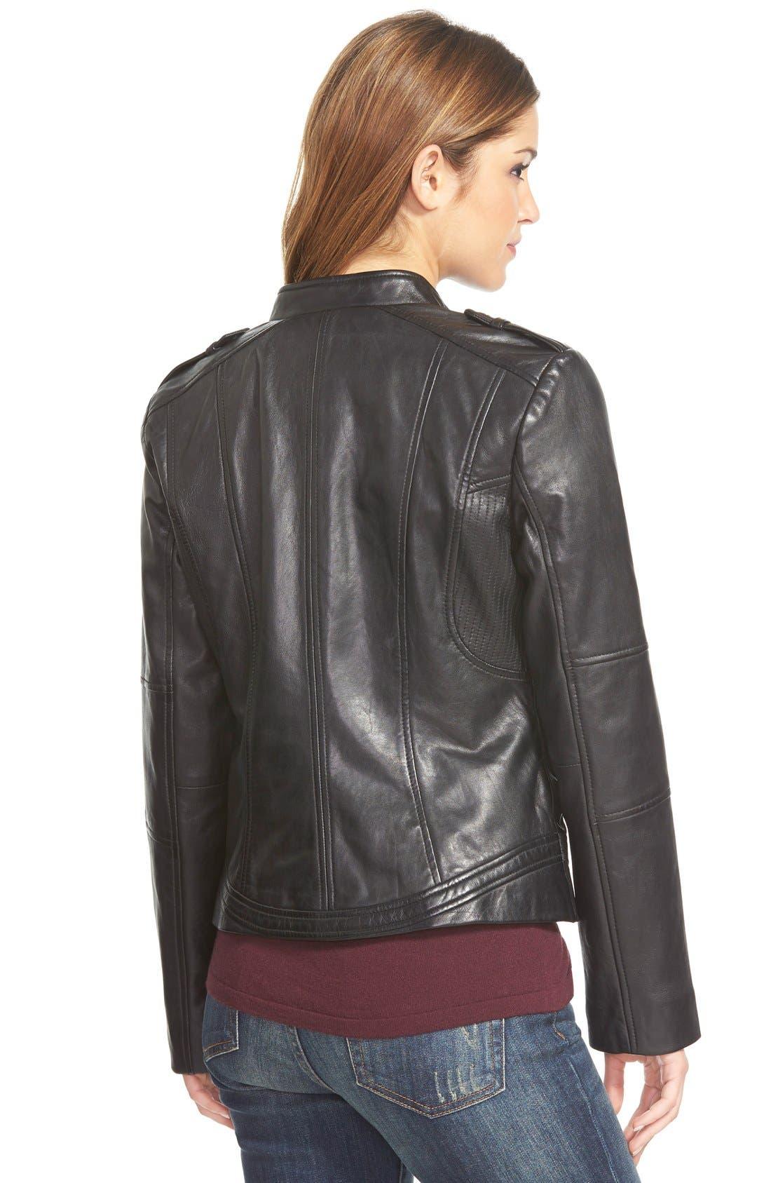 'Kirwin' Zip Front Leather Jacket,                             Alternate thumbnail 2, color,                             001