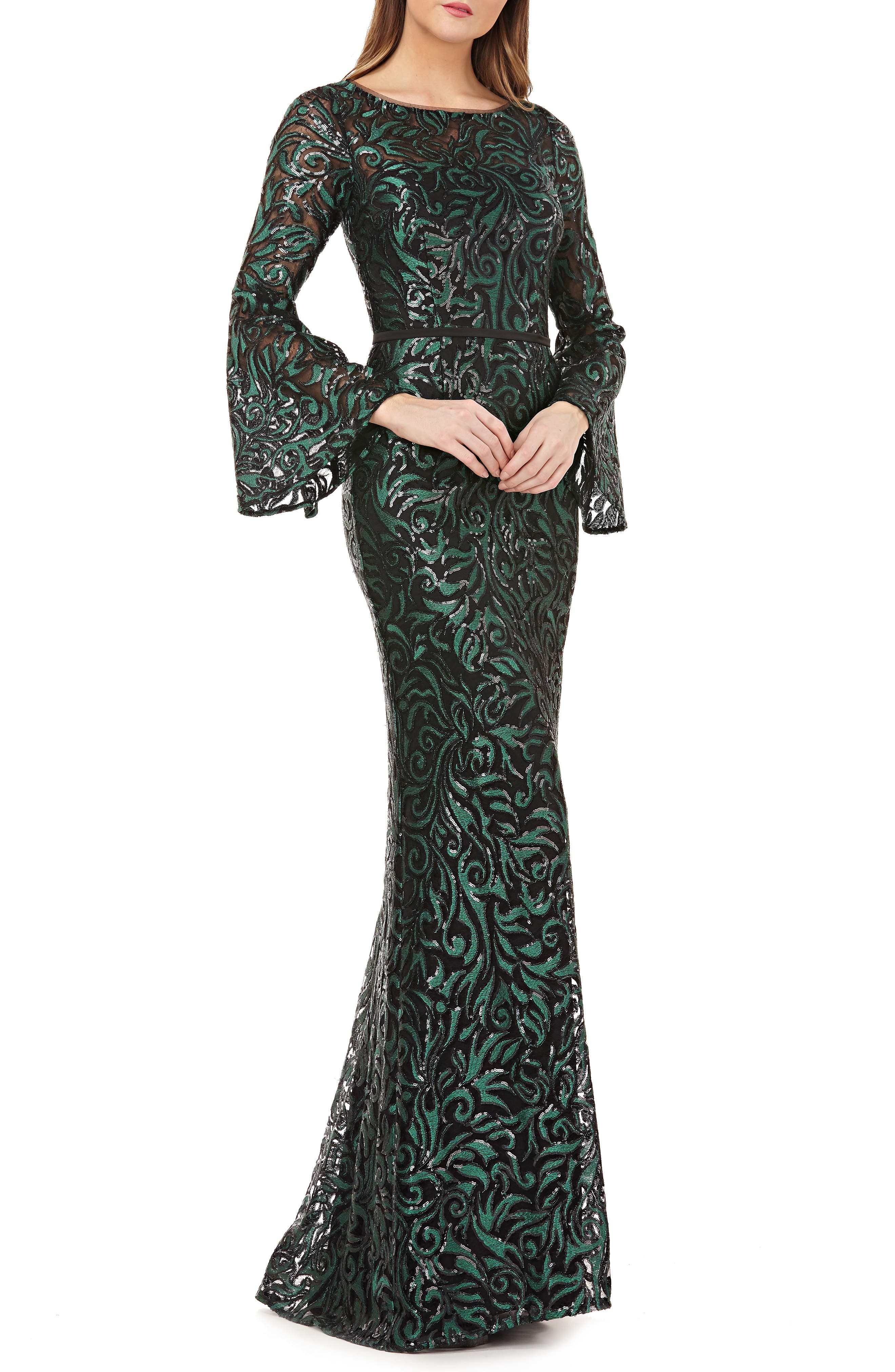 Sequin Embroidered Trumpet Gown,                         Main,                         color, GREEN