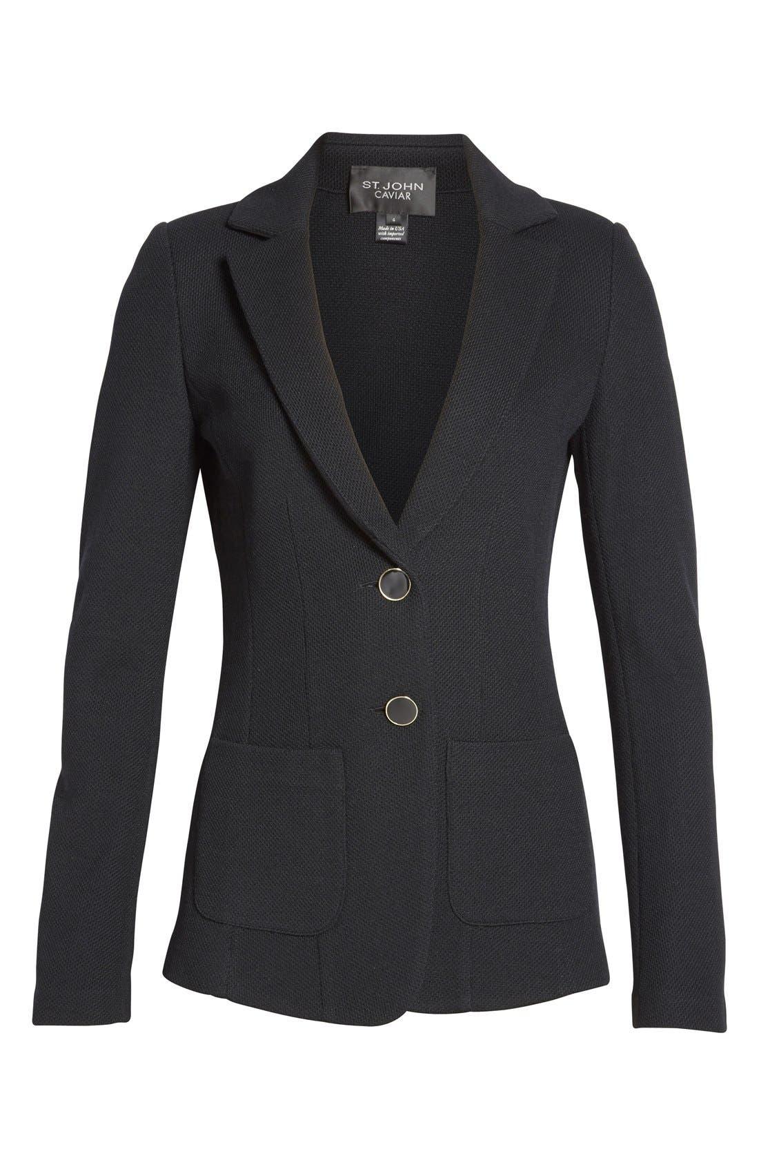 Milano Piqué Knit Jacket,                             Alternate thumbnail 4, color,                             CAVIAR