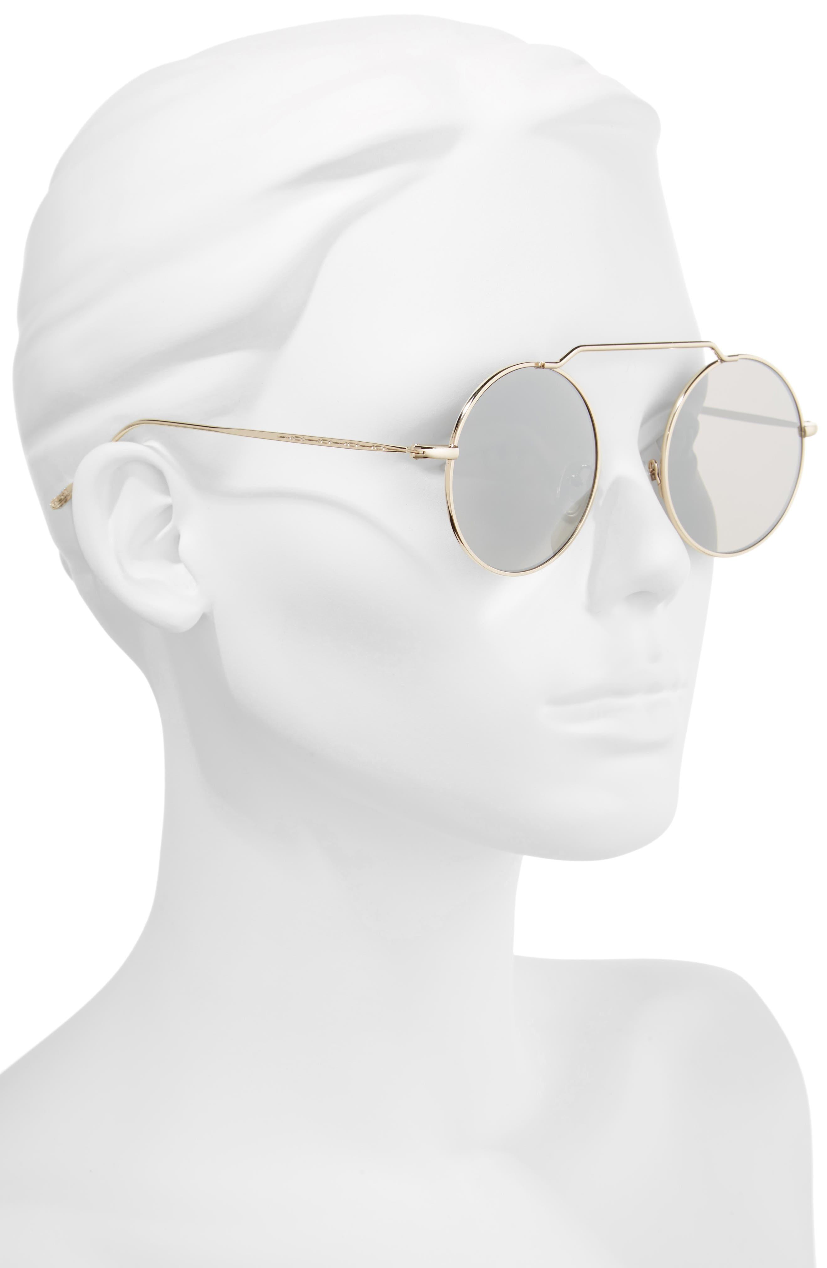 51mm Brow Bar Round Sunglasses,                             Alternate thumbnail 5, color,