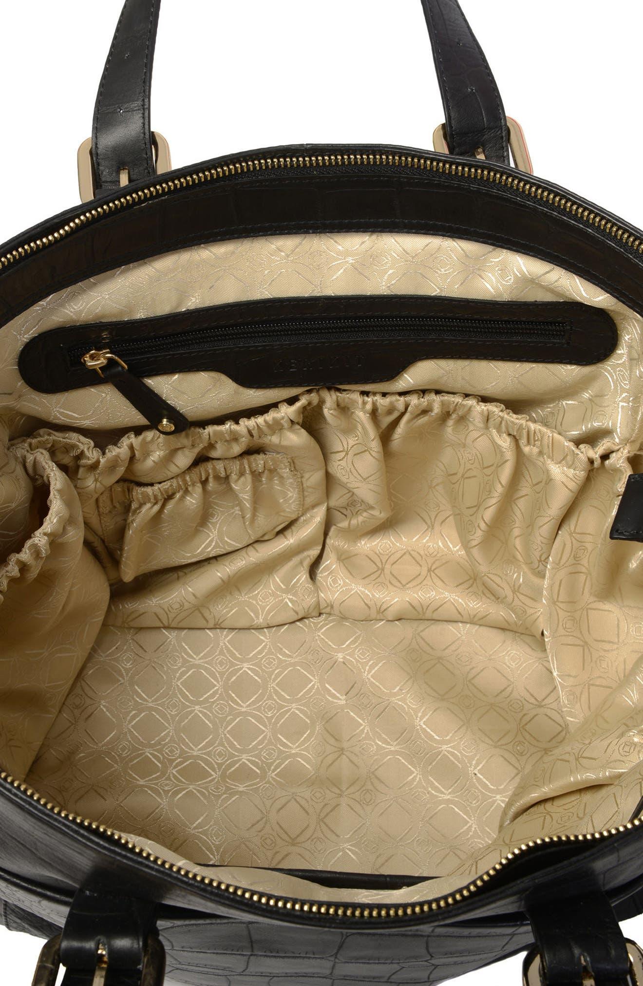 Francis Croc Embossed Leather Diaper Bag,                             Alternate thumbnail 7, color,                             001