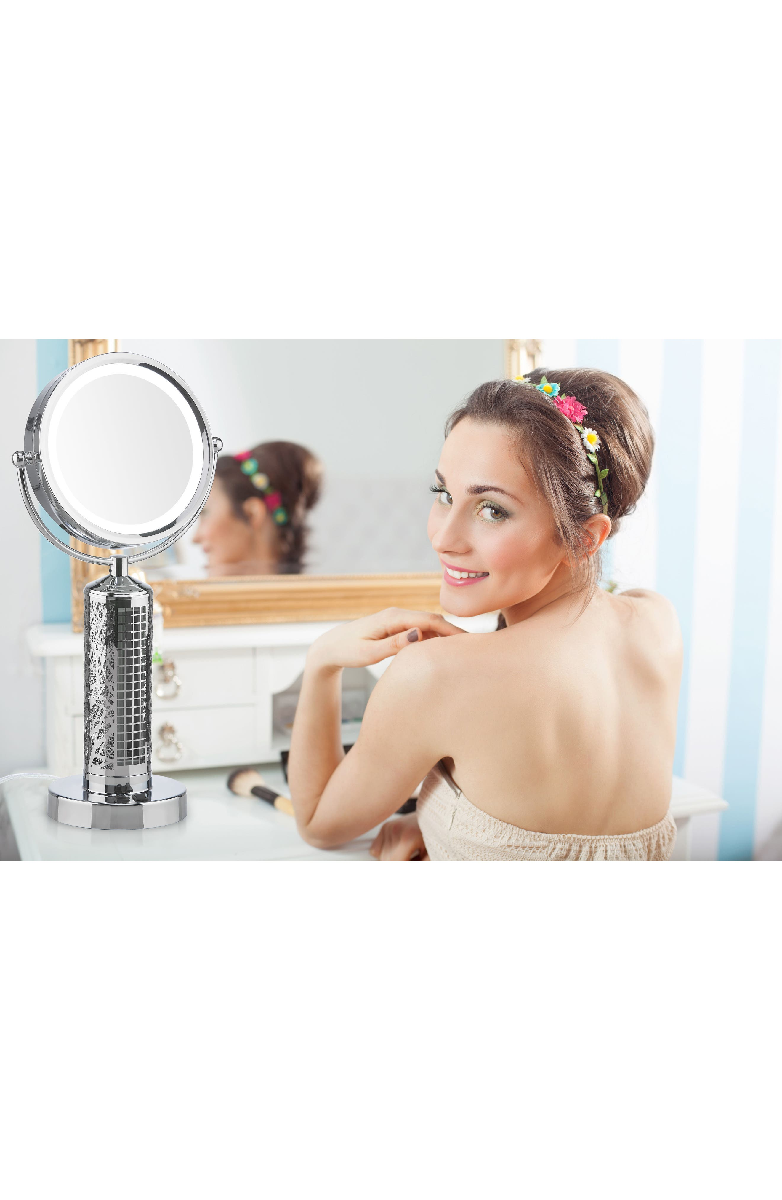 Fanity Makeup Mirror with Electric Fan,                             Alternate thumbnail 3, color,