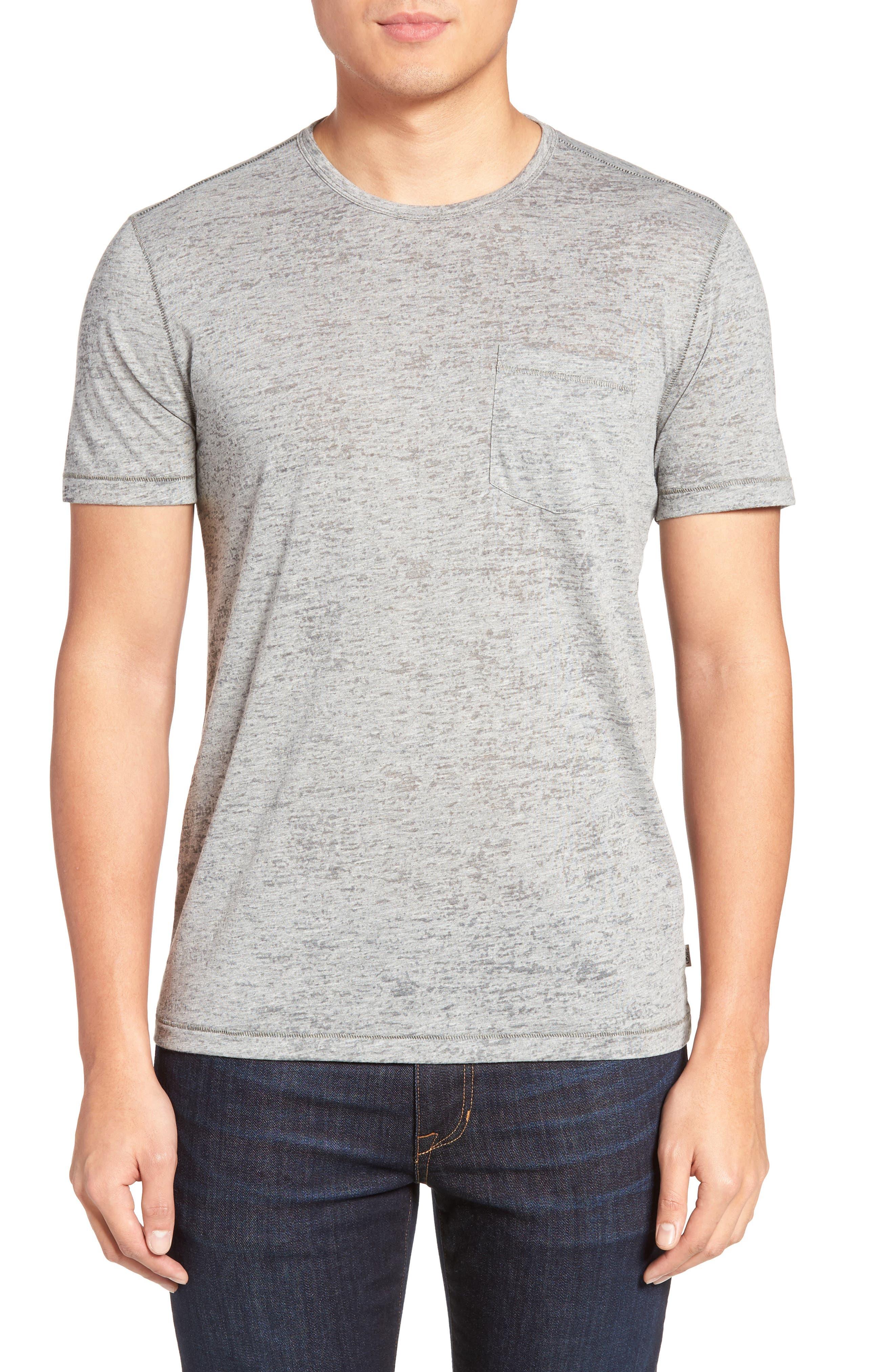 Burnout Trim Fit T-Shirt,                         Main,                         color, LT. GREY HEATHER
