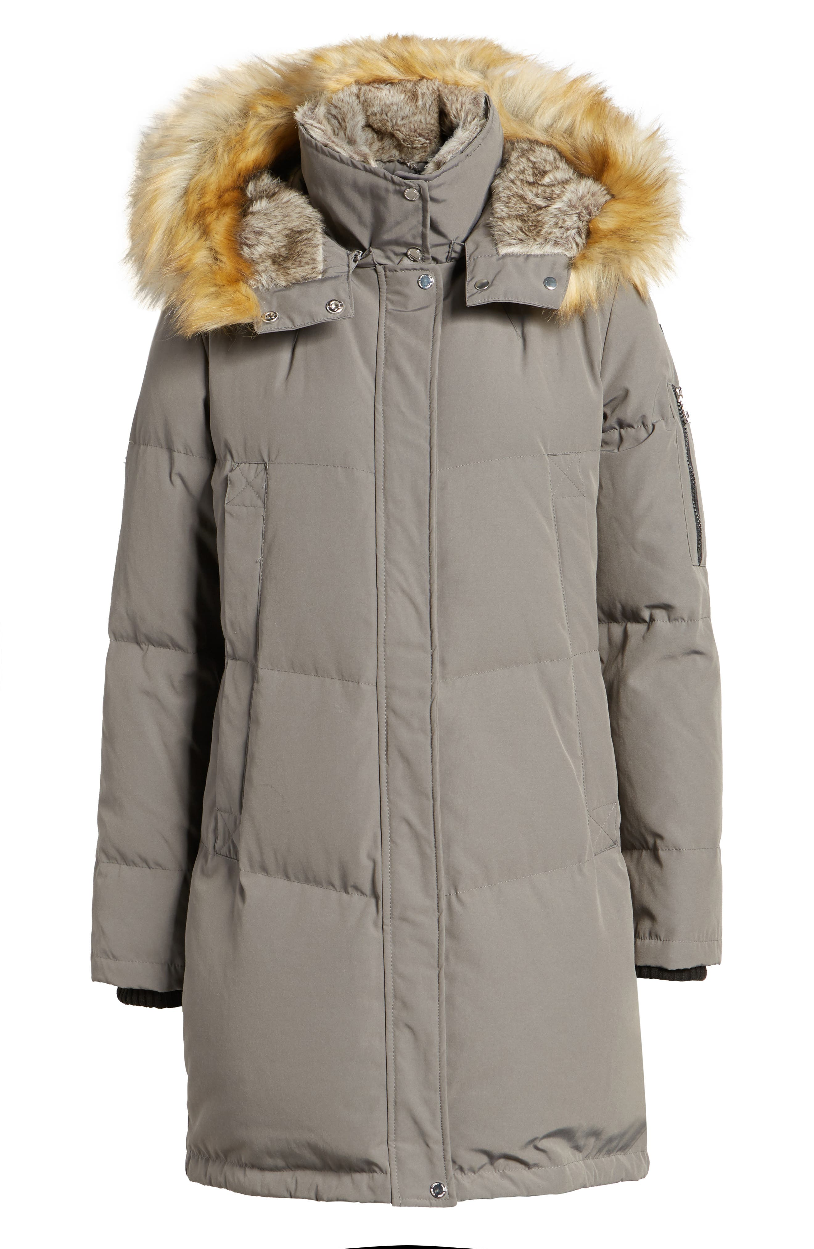 Down & Feather Fill Parka with Faux Fur Trims,                             Alternate thumbnail 5, color,                             020
