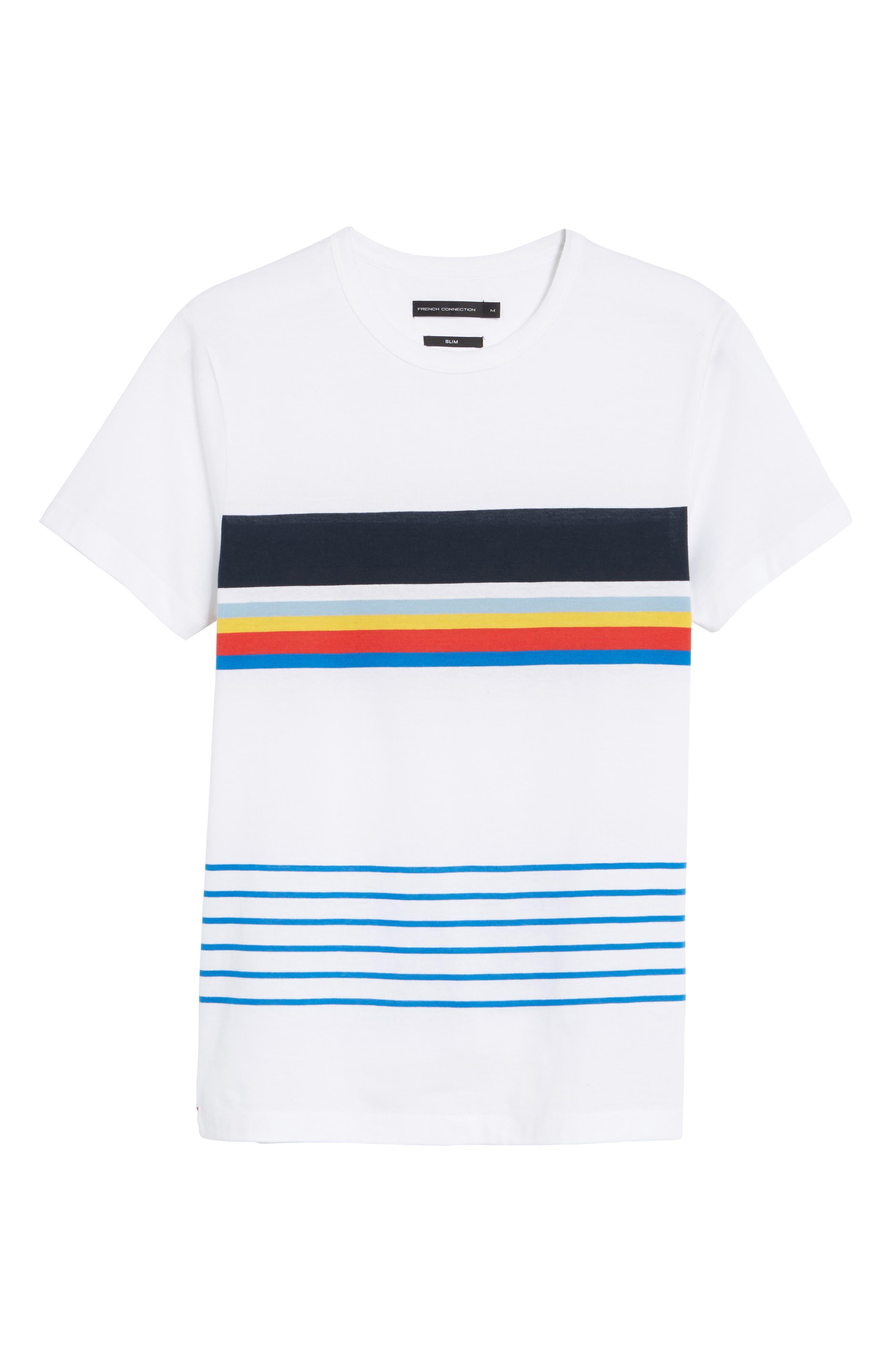 Senior Stripe Slim Fit T-Shirt,                             Alternate thumbnail 6, color,                             WHITE