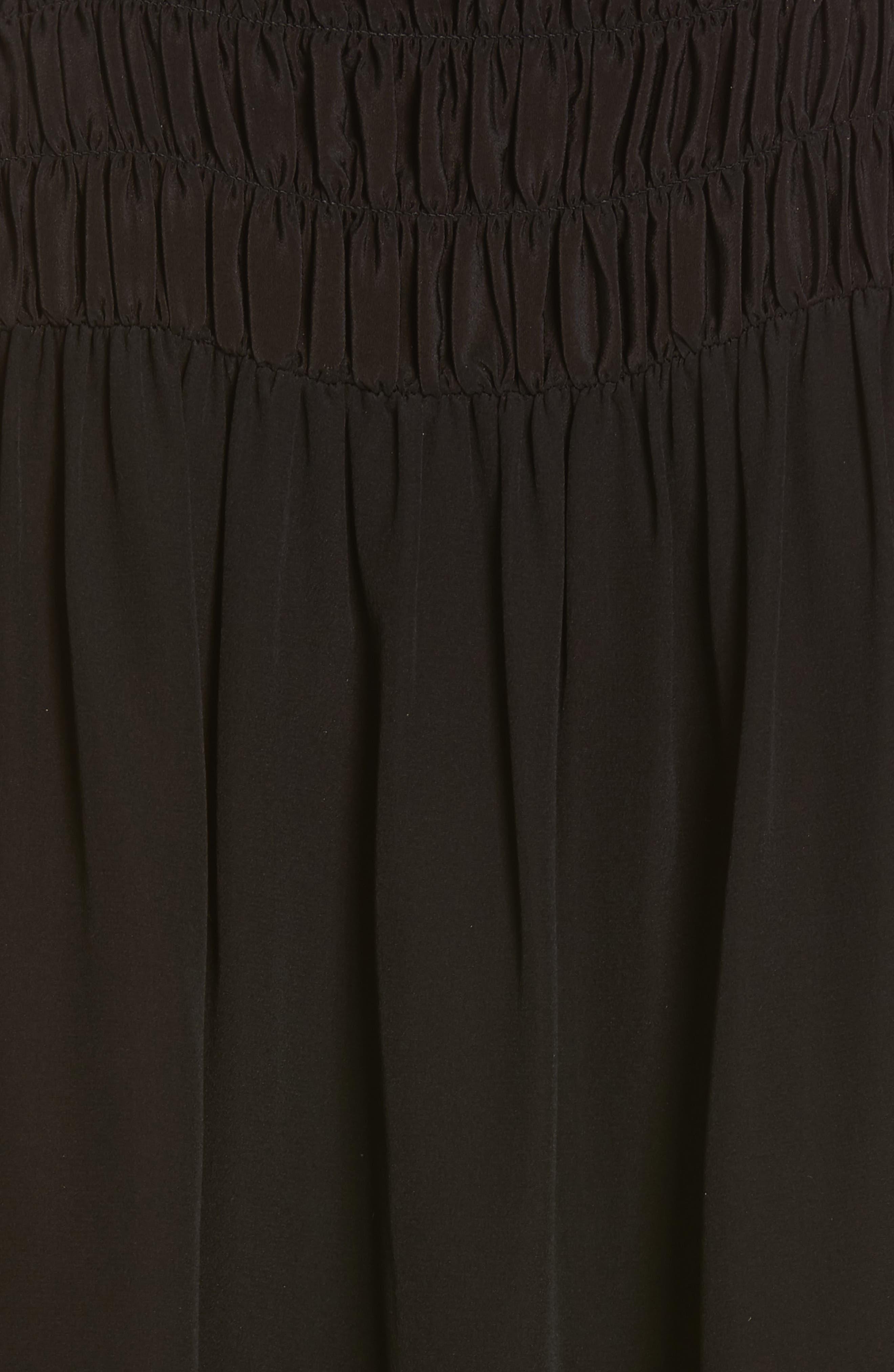 Smocked Sleeveless Silk Blouse,                             Alternate thumbnail 5, color,                             NOIR