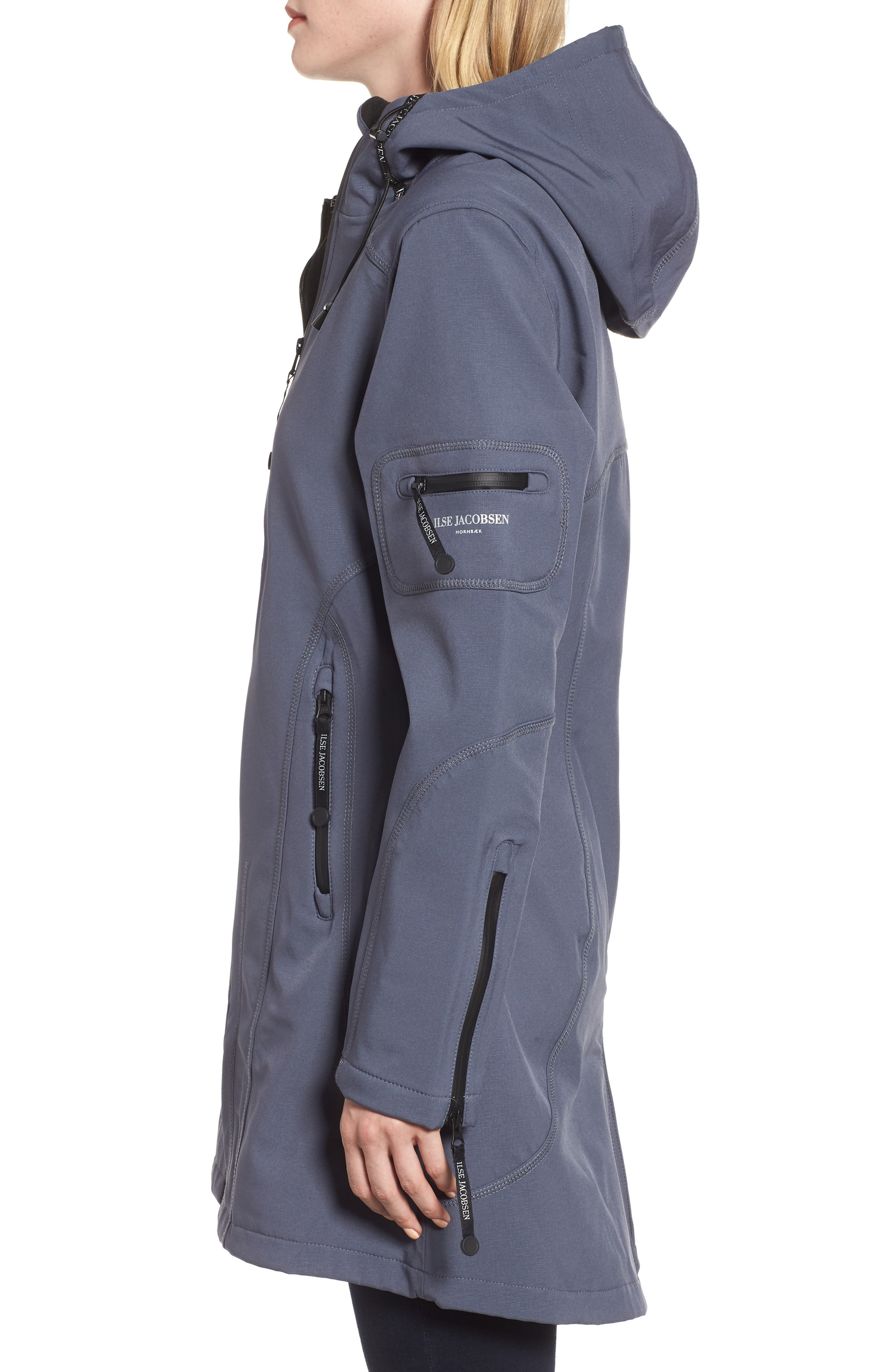 Rain 7 Hooded Water Resistant Coat,                             Alternate thumbnail 3, color,                             BLUE GRAYNESS