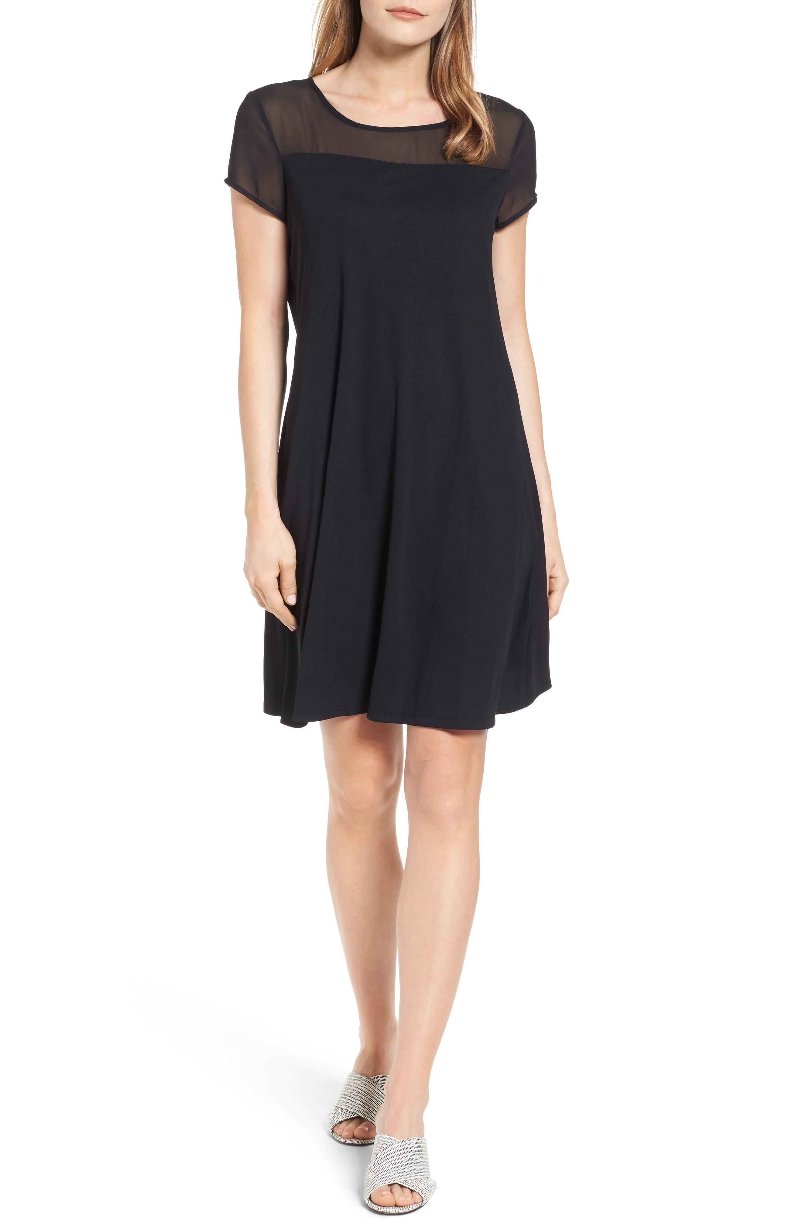 Sheer Yoke Shift Dress,                         Main,                         color, RICH BLACK
