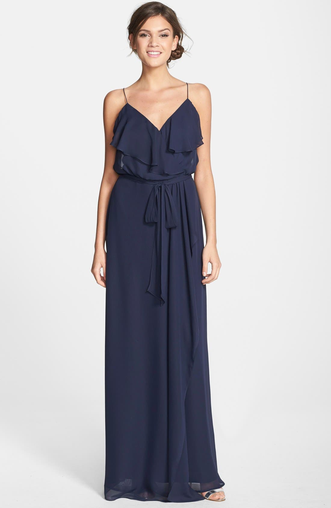'Drew' Ruffle Front Chiffon Gown,                             Main thumbnail 7, color,