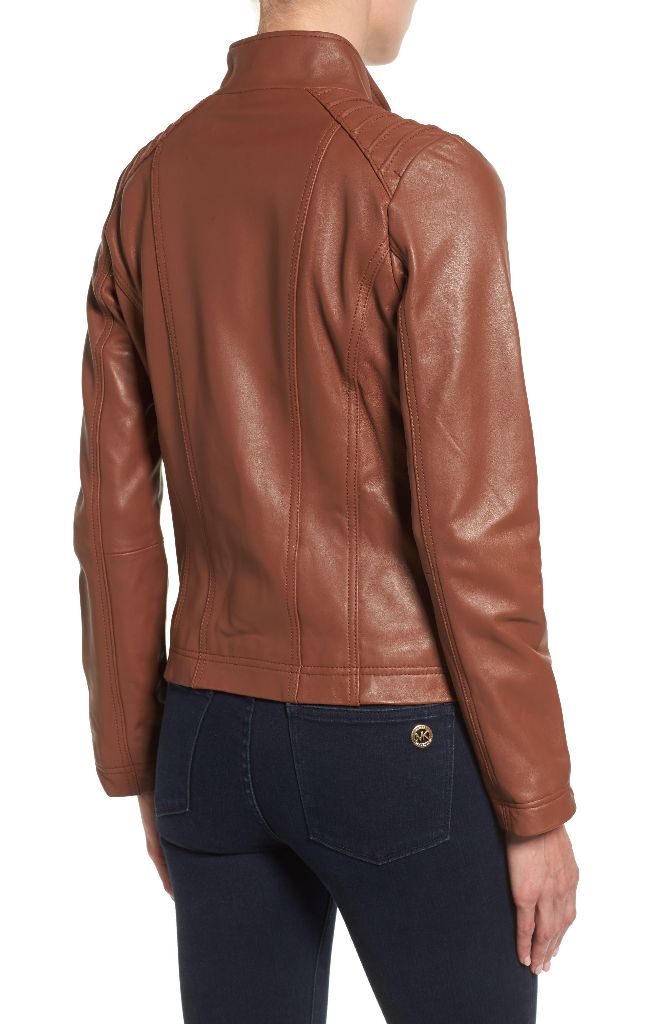 Leather Moto Jacket,                             Alternate thumbnail 4, color,