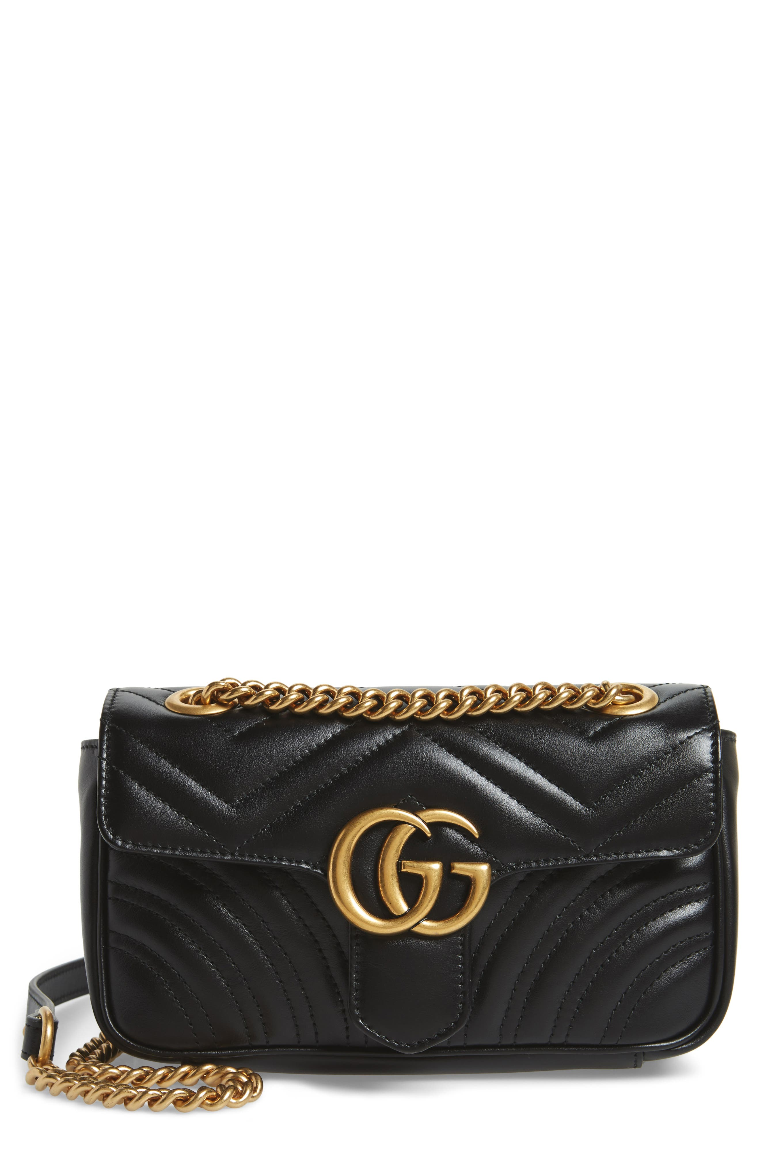 Mini GG Marmont 2.0 Matelassé Leather Shoulder Bag,                             Main thumbnail 1, color,                             NERO