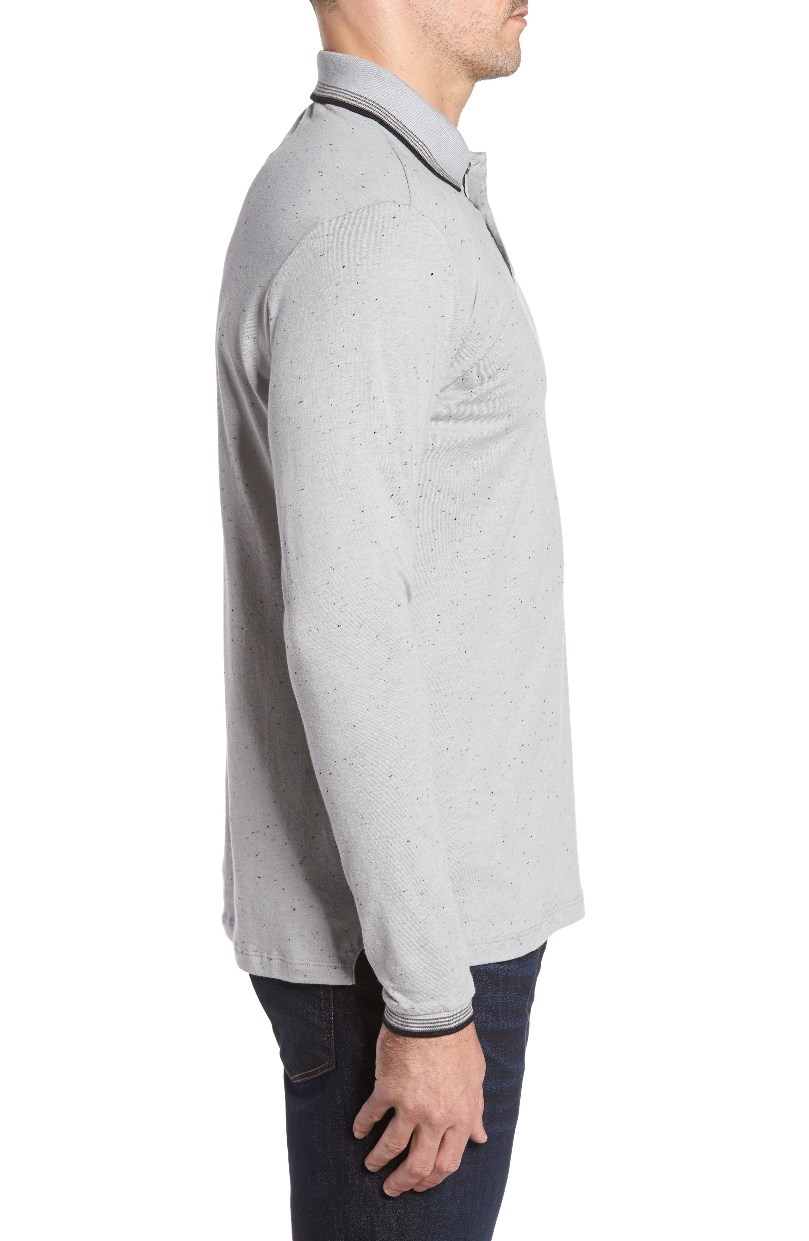 Speckle Knit Long Sleeve Polo,                             Alternate thumbnail 5, color,