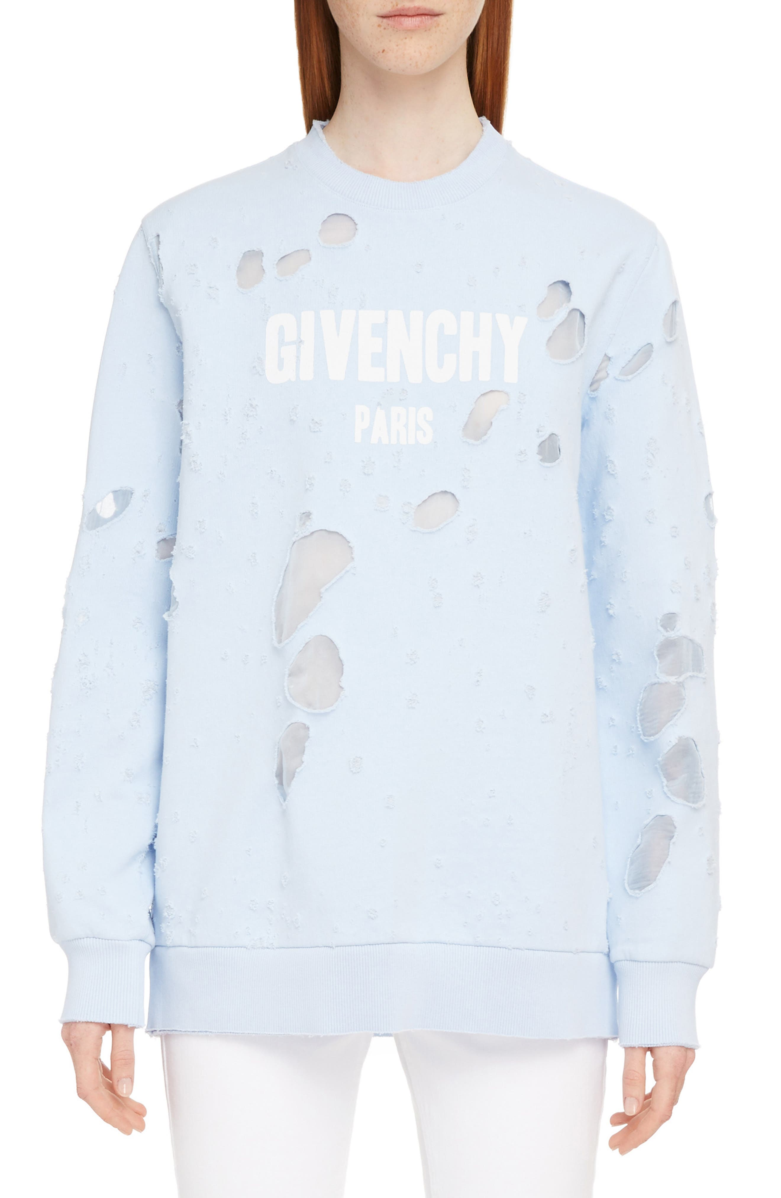 Destroyed Logo Sweater,                             Main thumbnail 1, color,                             BABY BLUE