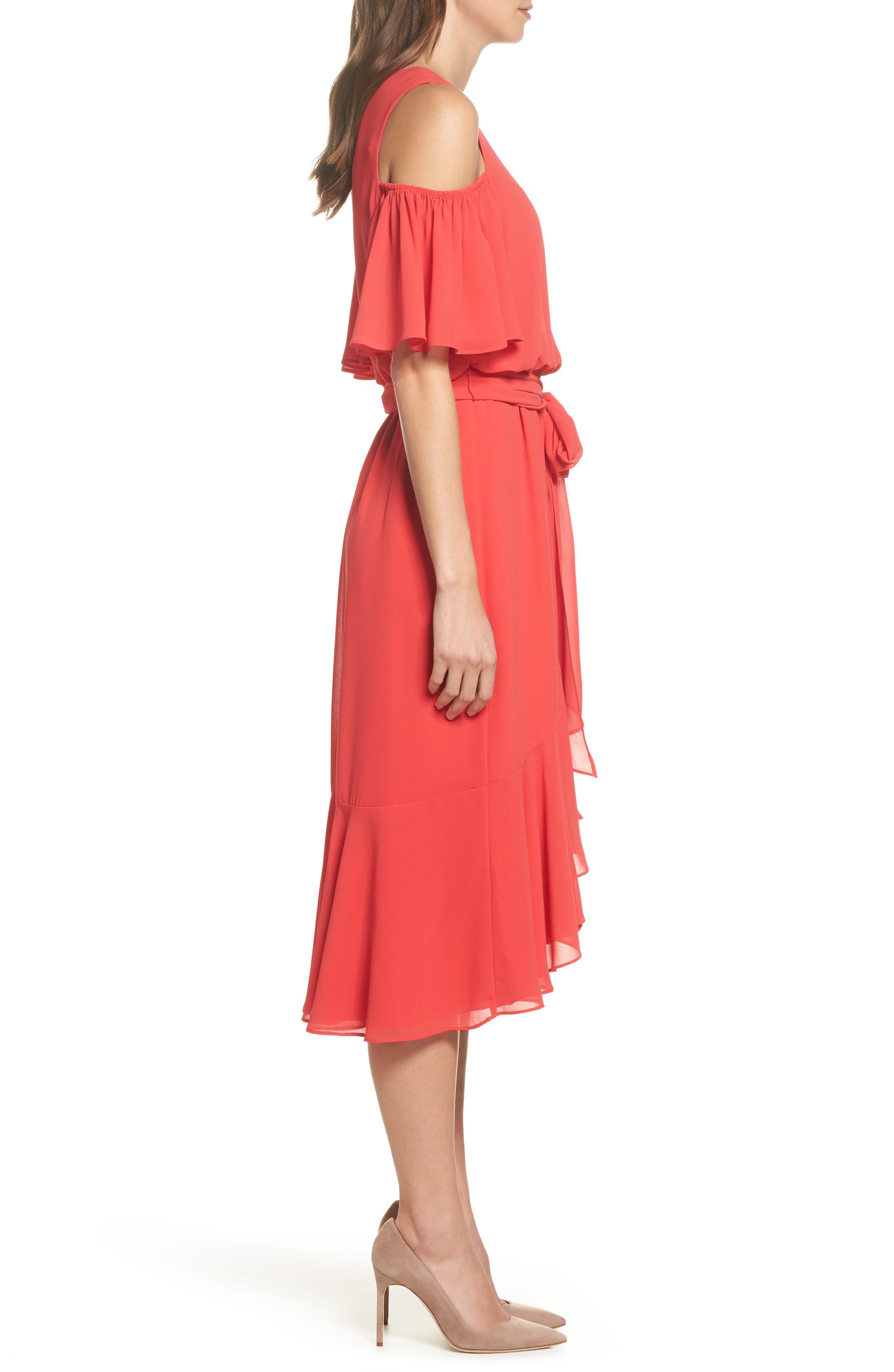 Cold Shoulder Dress,                             Alternate thumbnail 3, color,                             652