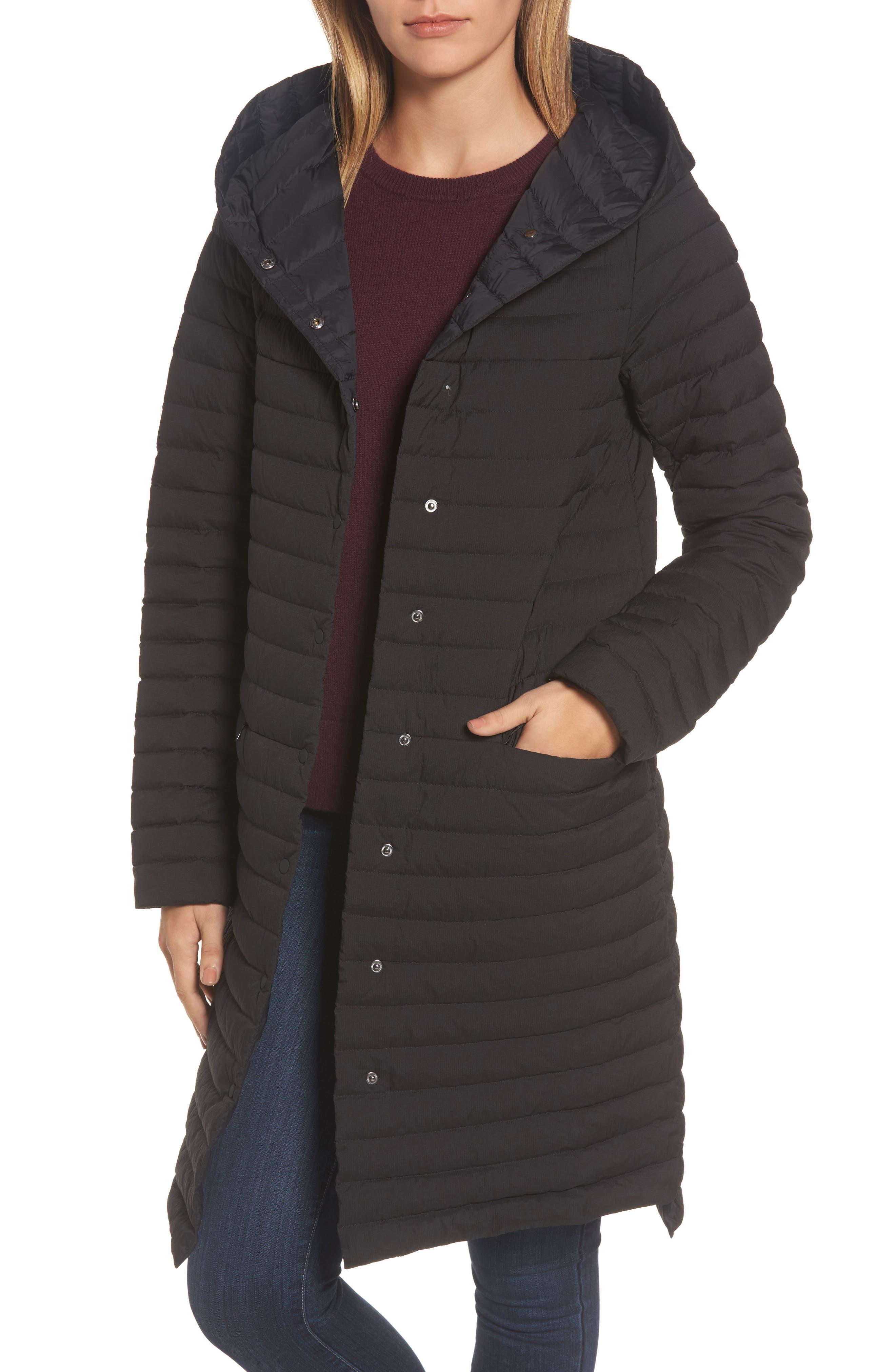Edith Hooded Long Coat,                             Main thumbnail 1, color,                             001
