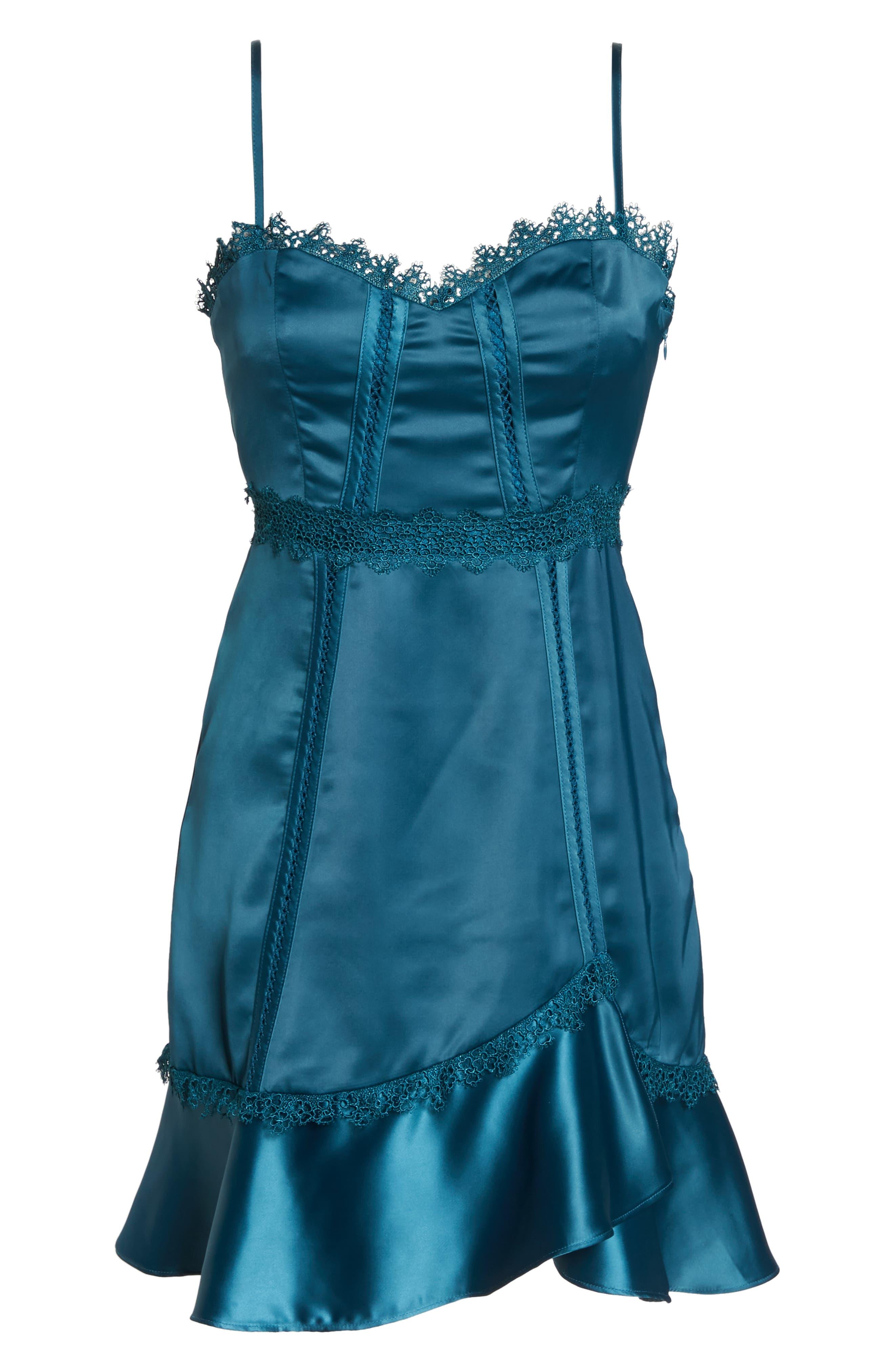 Betty Satin & Soutache Party Dress,                             Alternate thumbnail 7, color,                             TEAL
