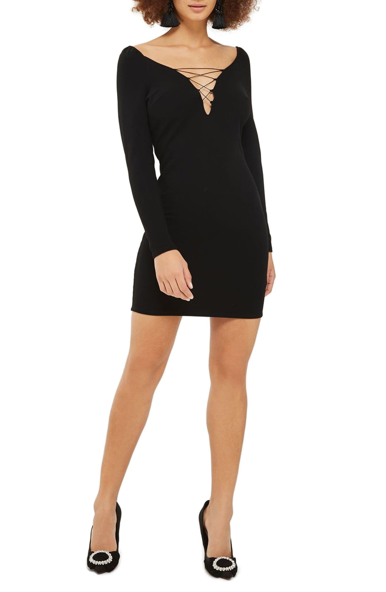 Lace-Up Boatneck Body-Con Dress,                             Main thumbnail 1, color,                             001