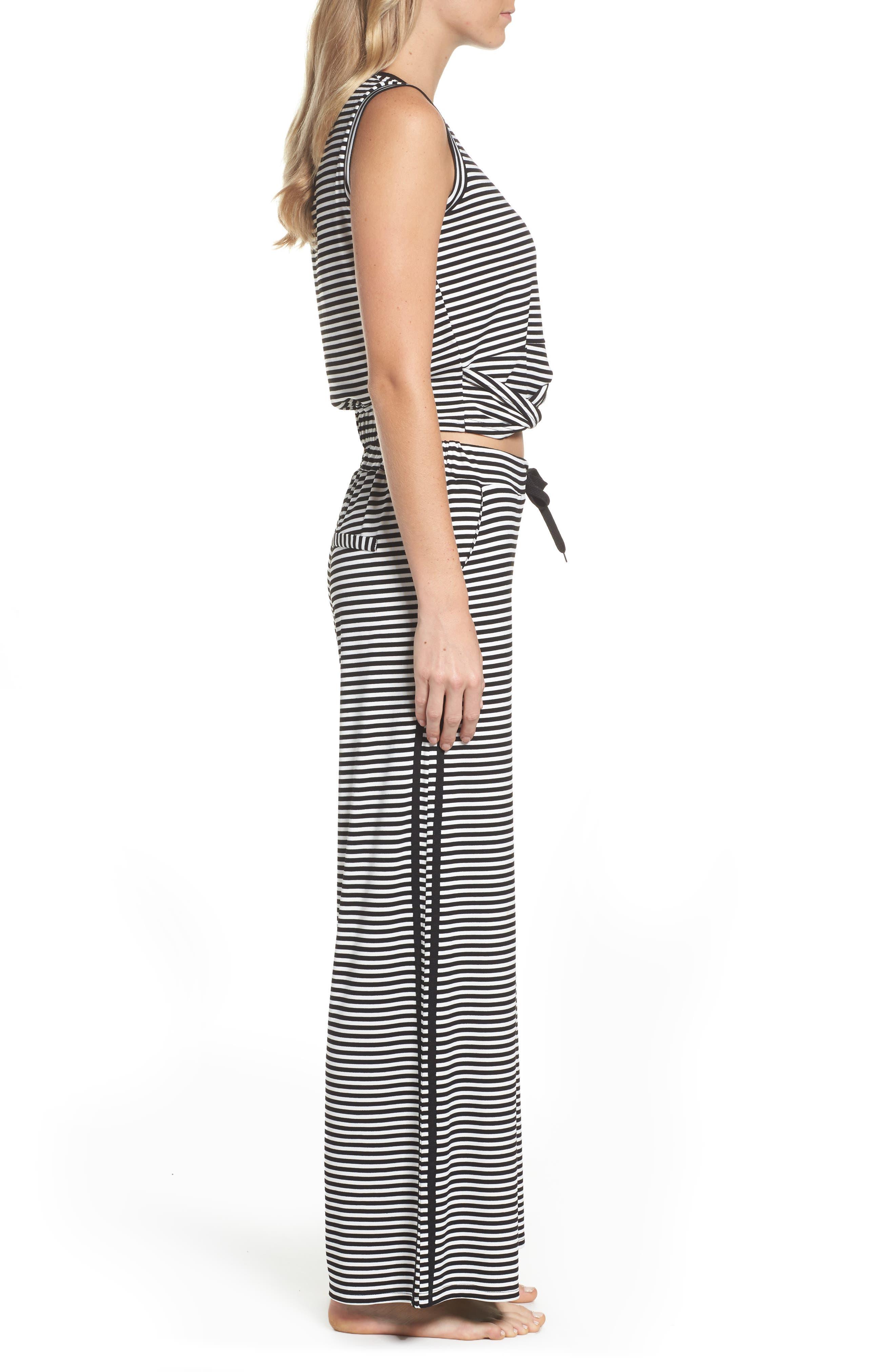 Stripe Pajamas,                             Alternate thumbnail 3, color,                             BLACK/ WHITE