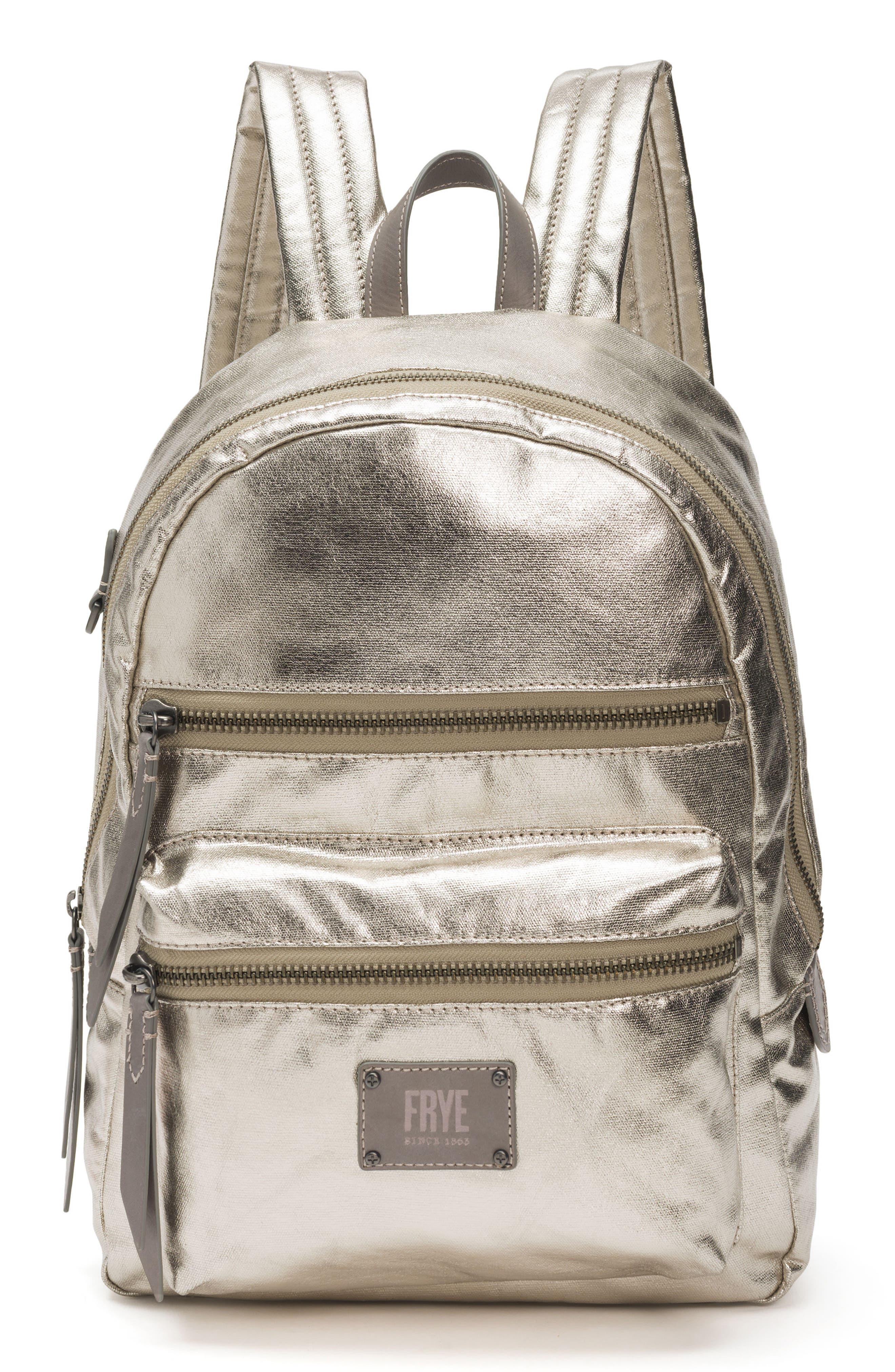 Ivy Metallic Nylon Backpack,                         Main,                         color, 020