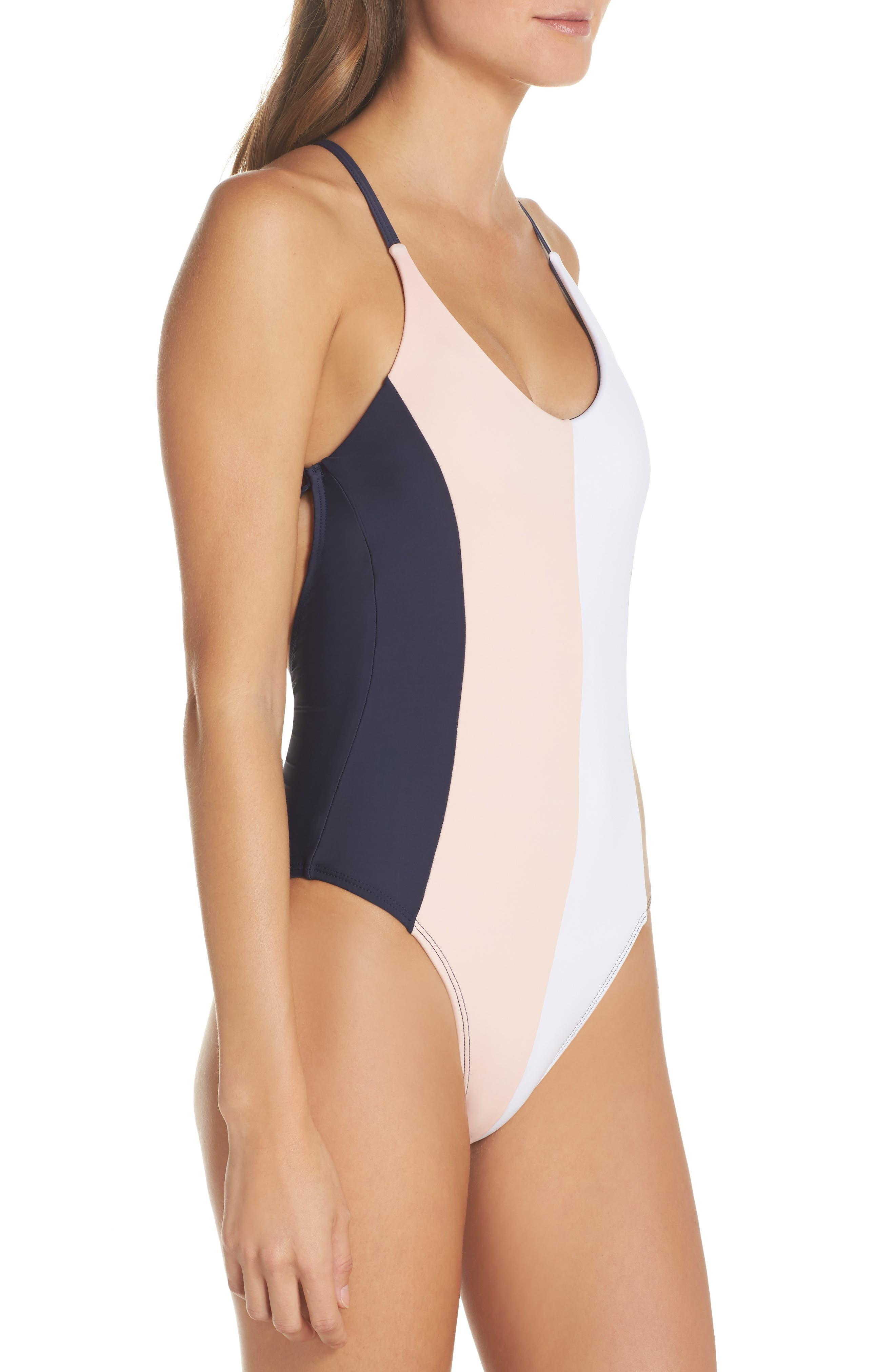 Farrah Colorblock One-Piece Swimsuit,                             Alternate thumbnail 3, color,                             413