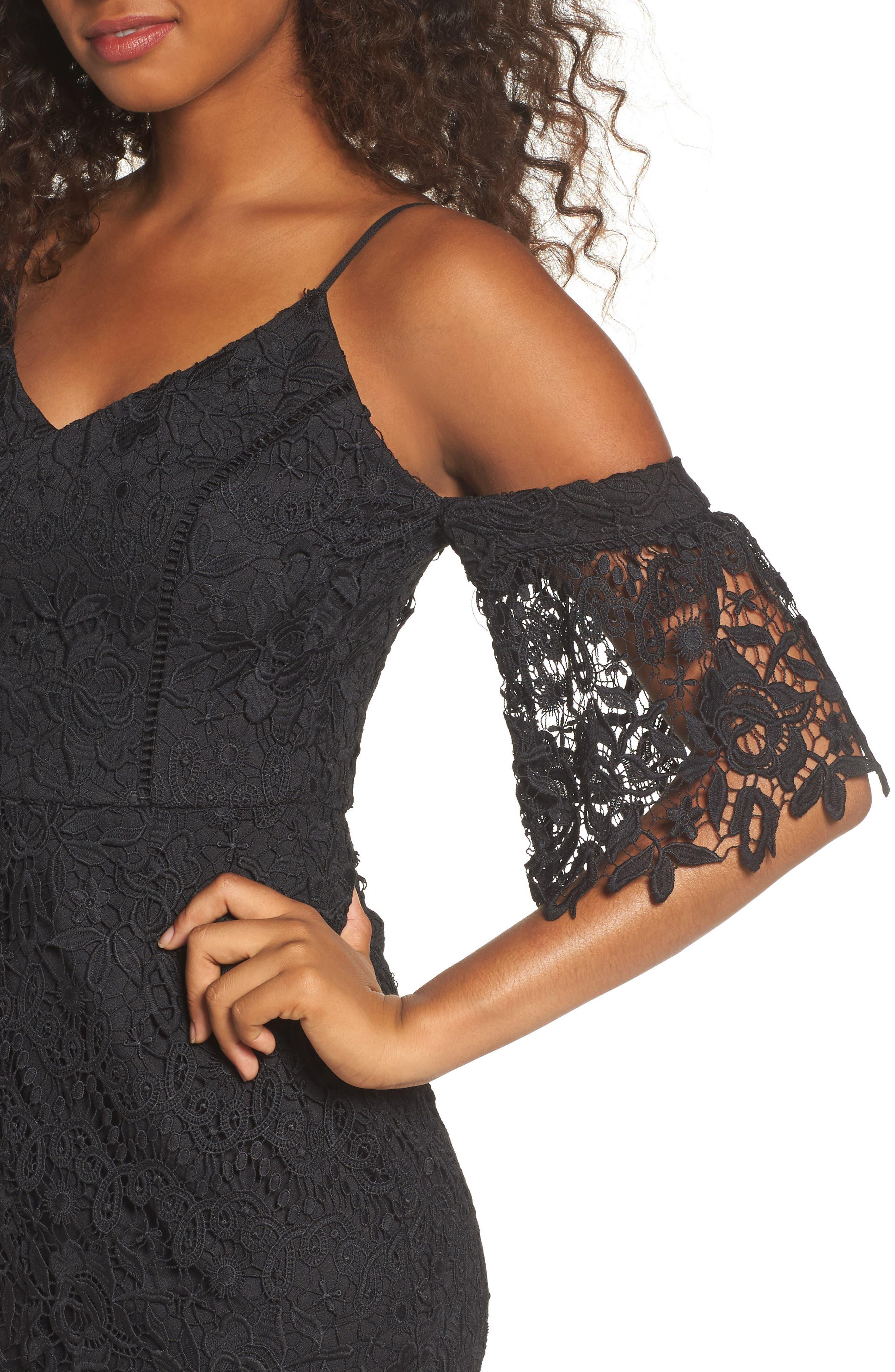 Krista Cold Shoulder Lace Sheath Dress,                             Alternate thumbnail 4, color,                             001