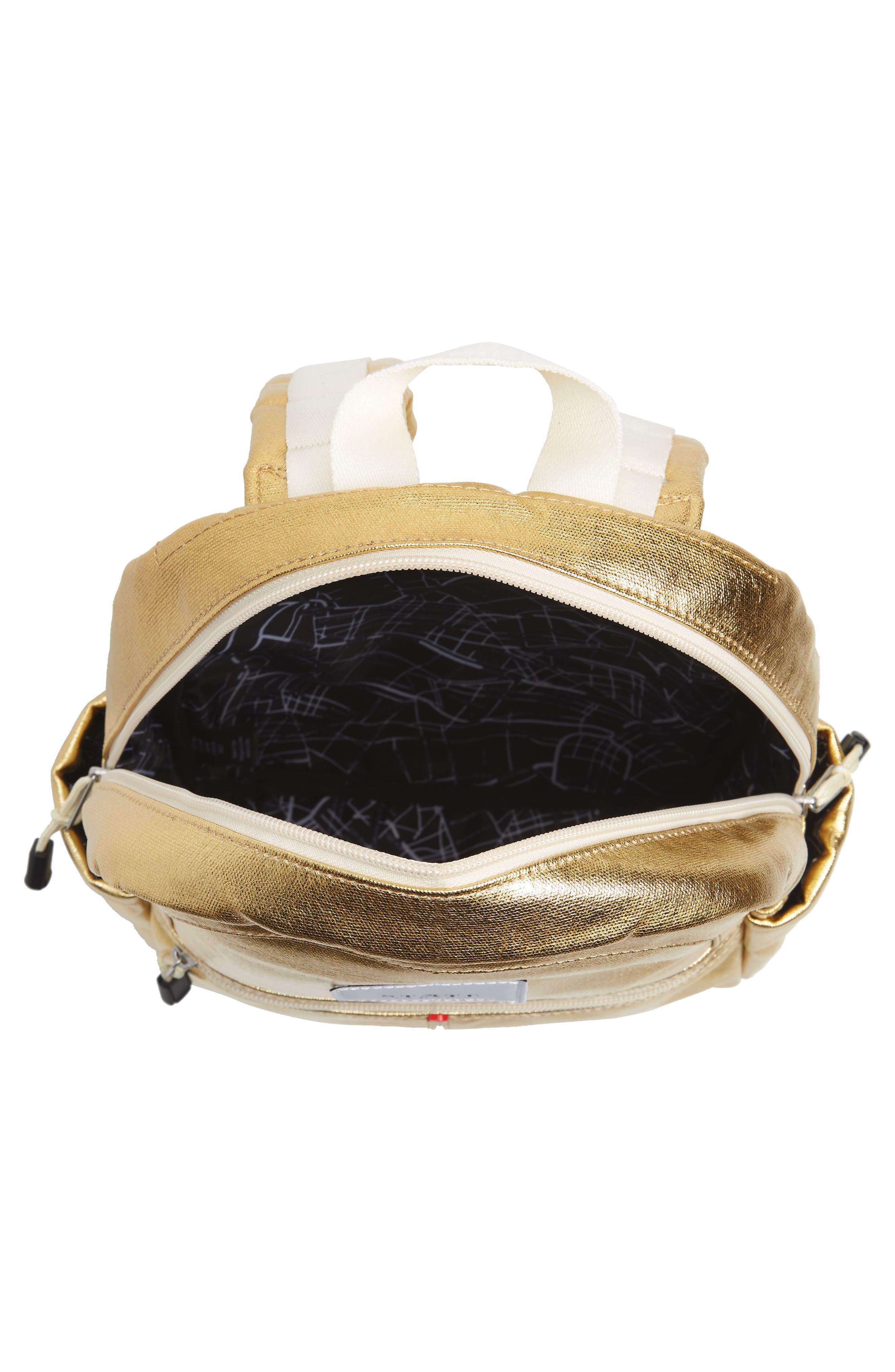 Downtown Mini Kane Metallic Backpack,                             Alternate thumbnail 4, color,                             GOLD