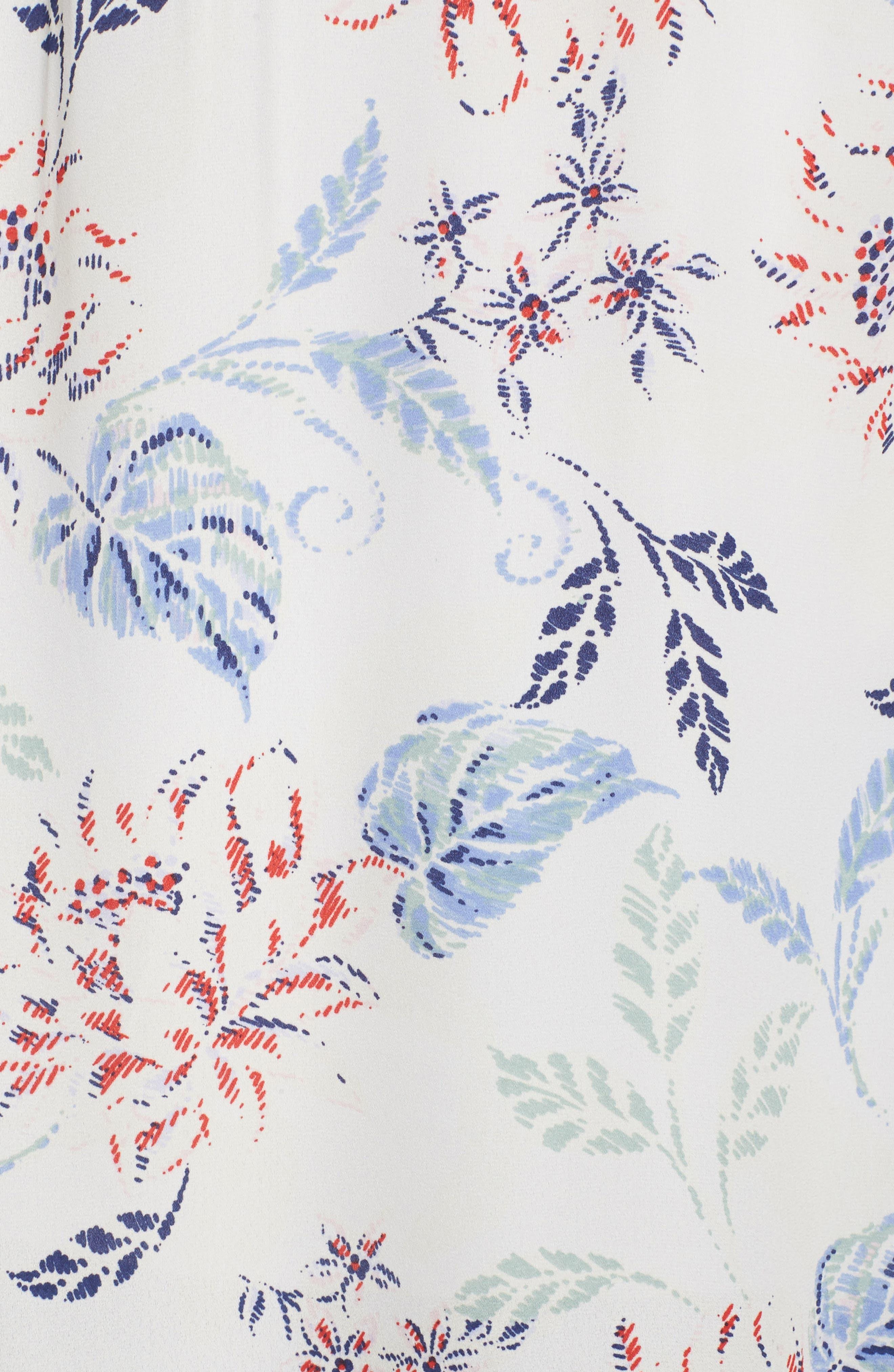Floral Print Cap Sleeve Blouse,                             Alternate thumbnail 5, color,                             907