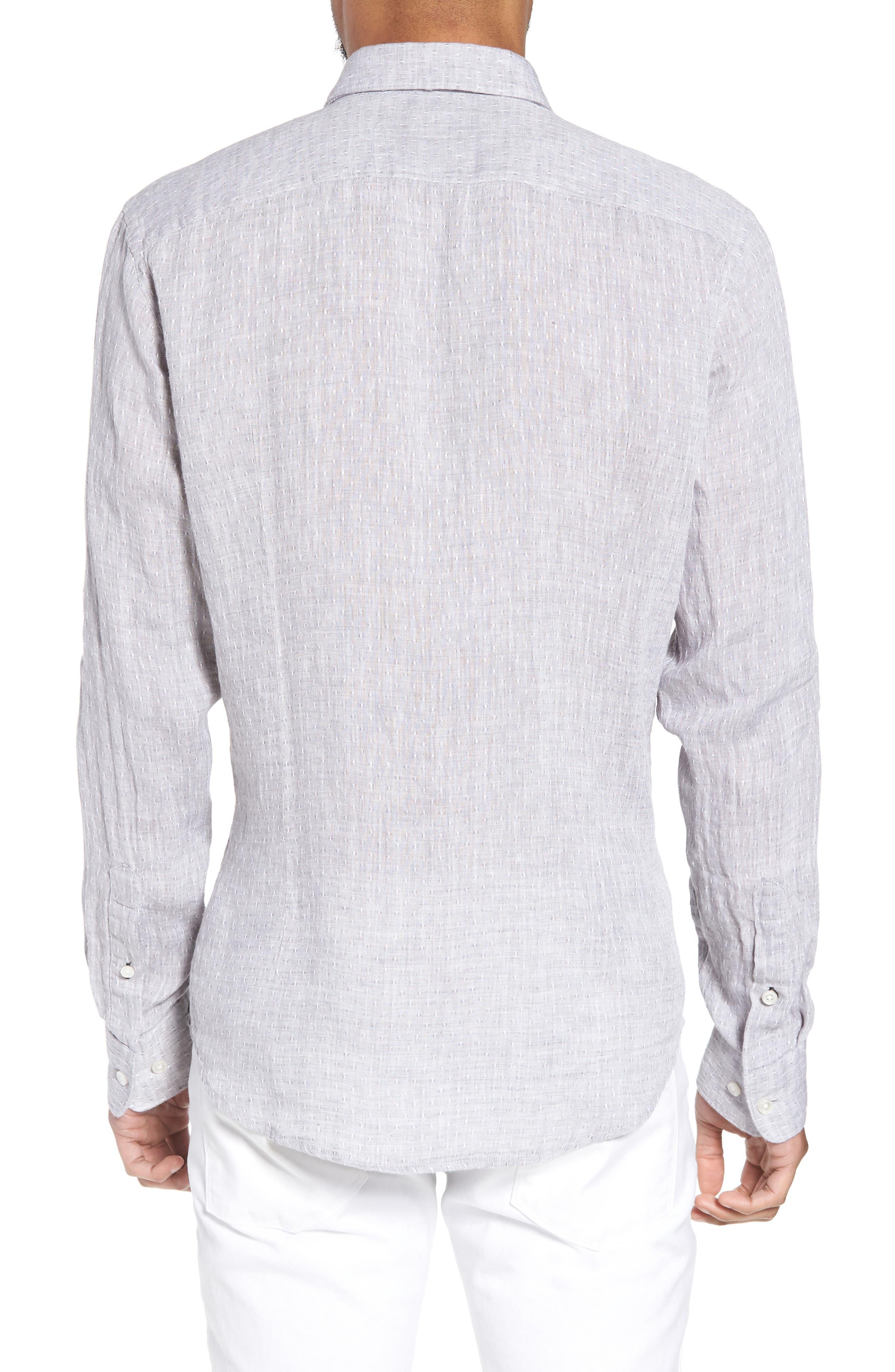 Ronni Slim Fit Dobby Linen Sport Shirt,                             Alternate thumbnail 3, color,