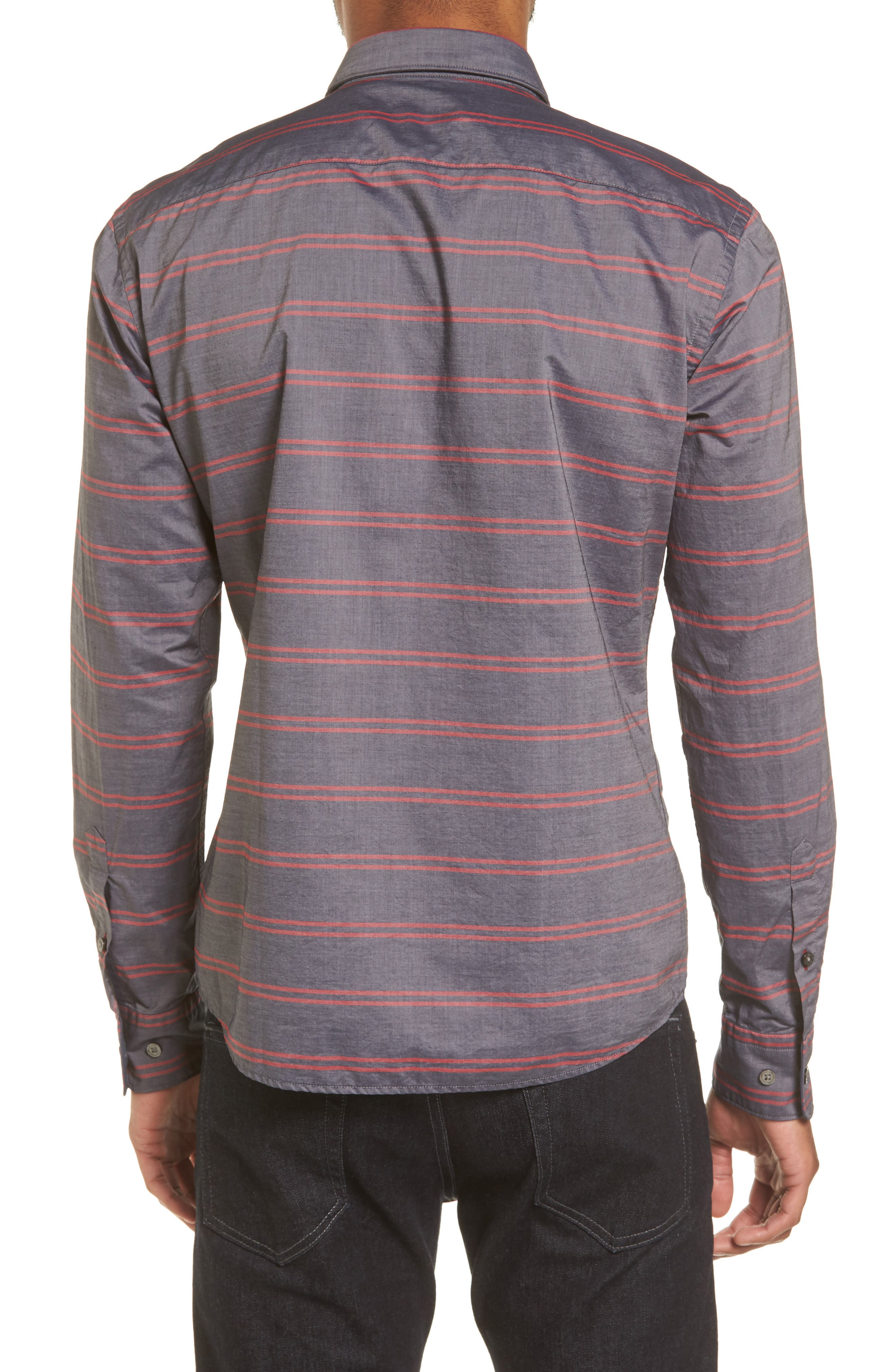Reid Slim Fit Stripe Sport Shirt,                             Alternate thumbnail 2, color,