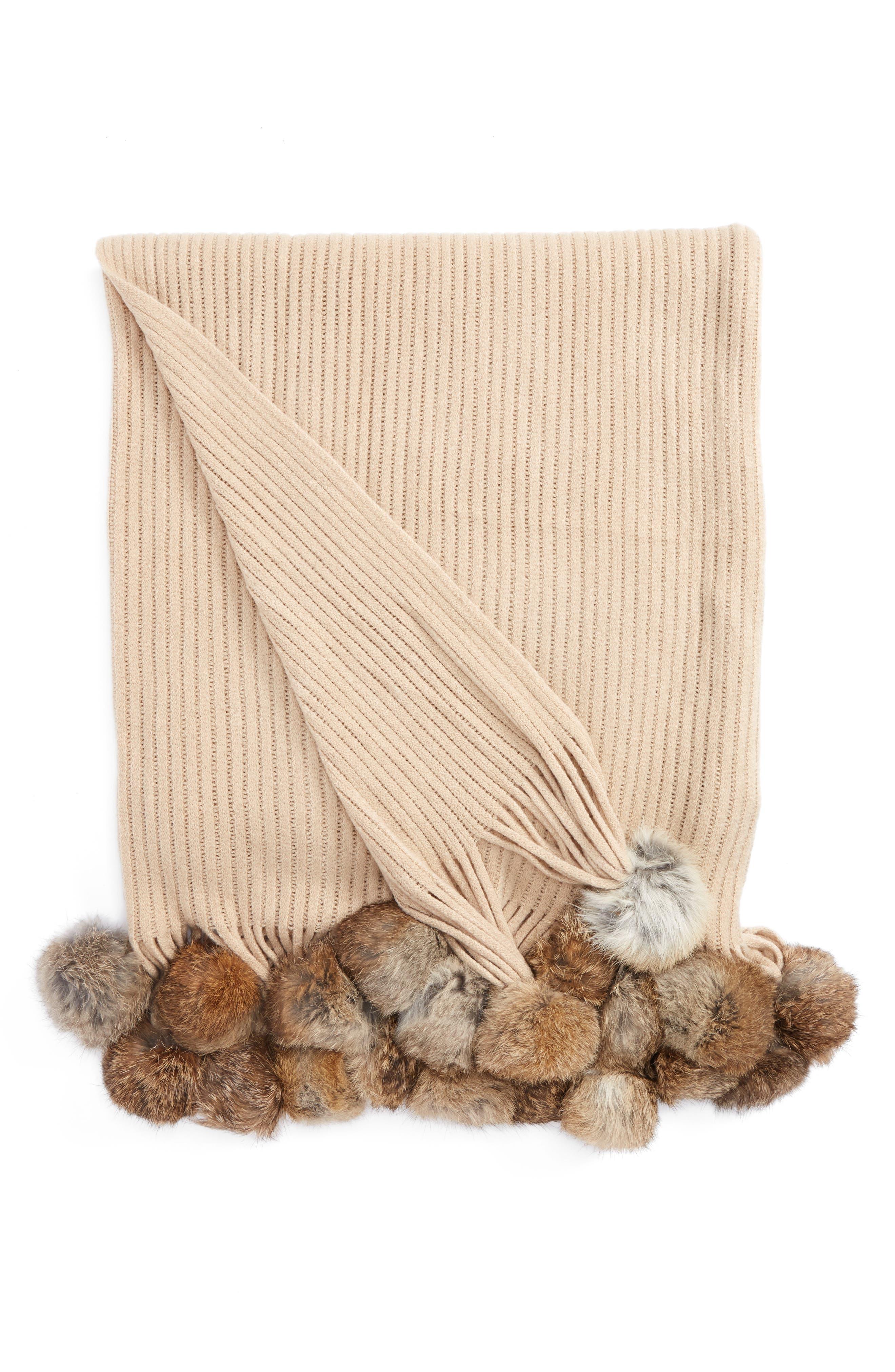 Genuine Rabbit Fur Pompom Rib Knit Throw,                             Main thumbnail 2, color,