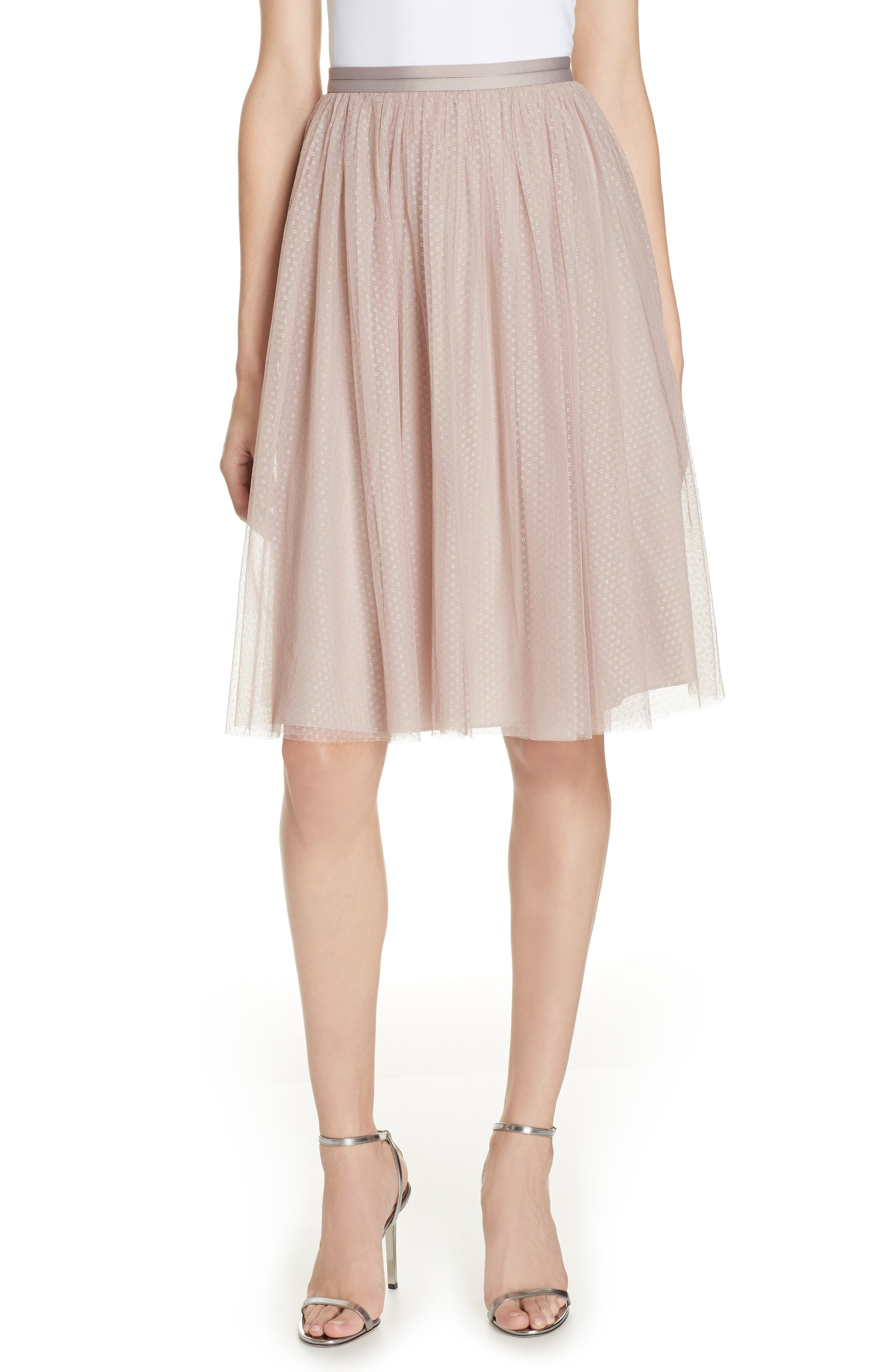 Dotted Tulle A-Line Skirt,                             Main thumbnail 1, color,                             DUSK ROSE