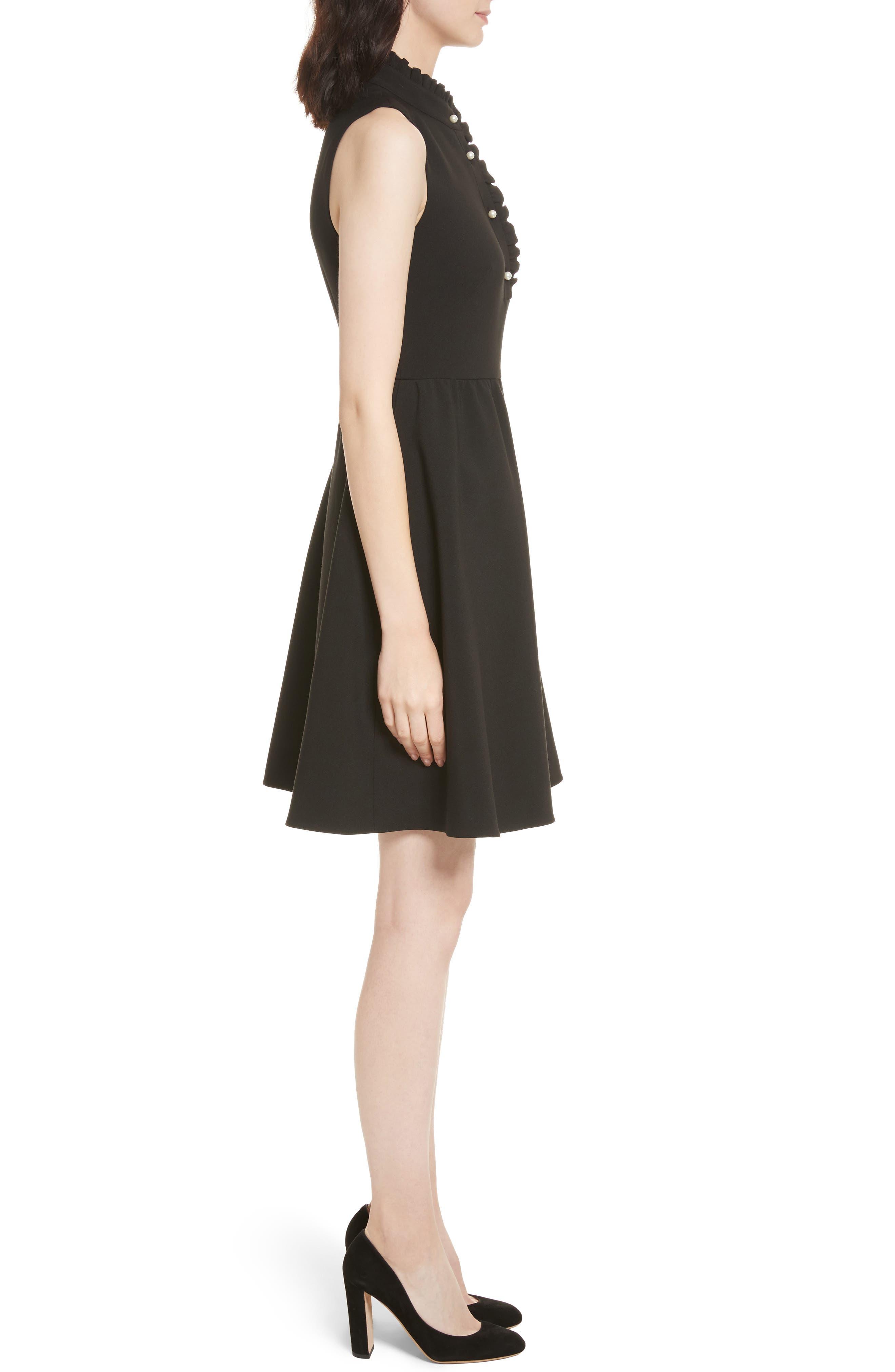 ruffle front crepe dress,                             Alternate thumbnail 3, color,                             001