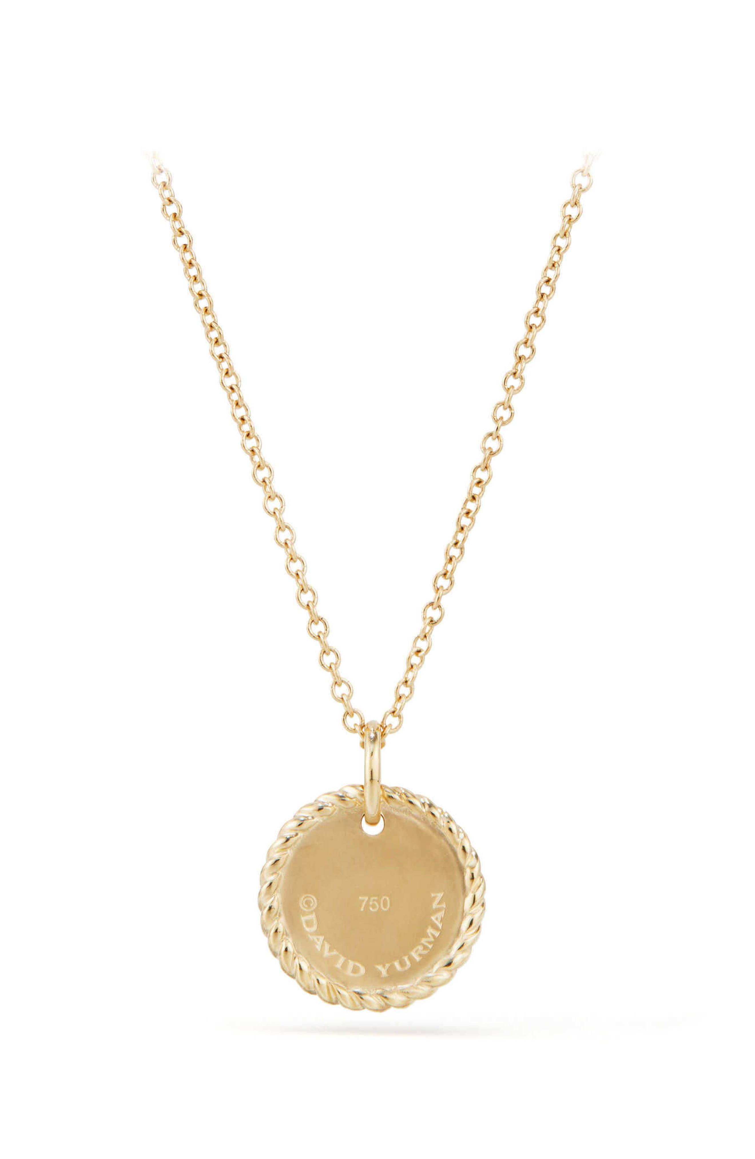 Cable Collectibles Fleur de Lis Necklace with Black Diamonds in 18K Gold,                             Alternate thumbnail 2, color,                             001