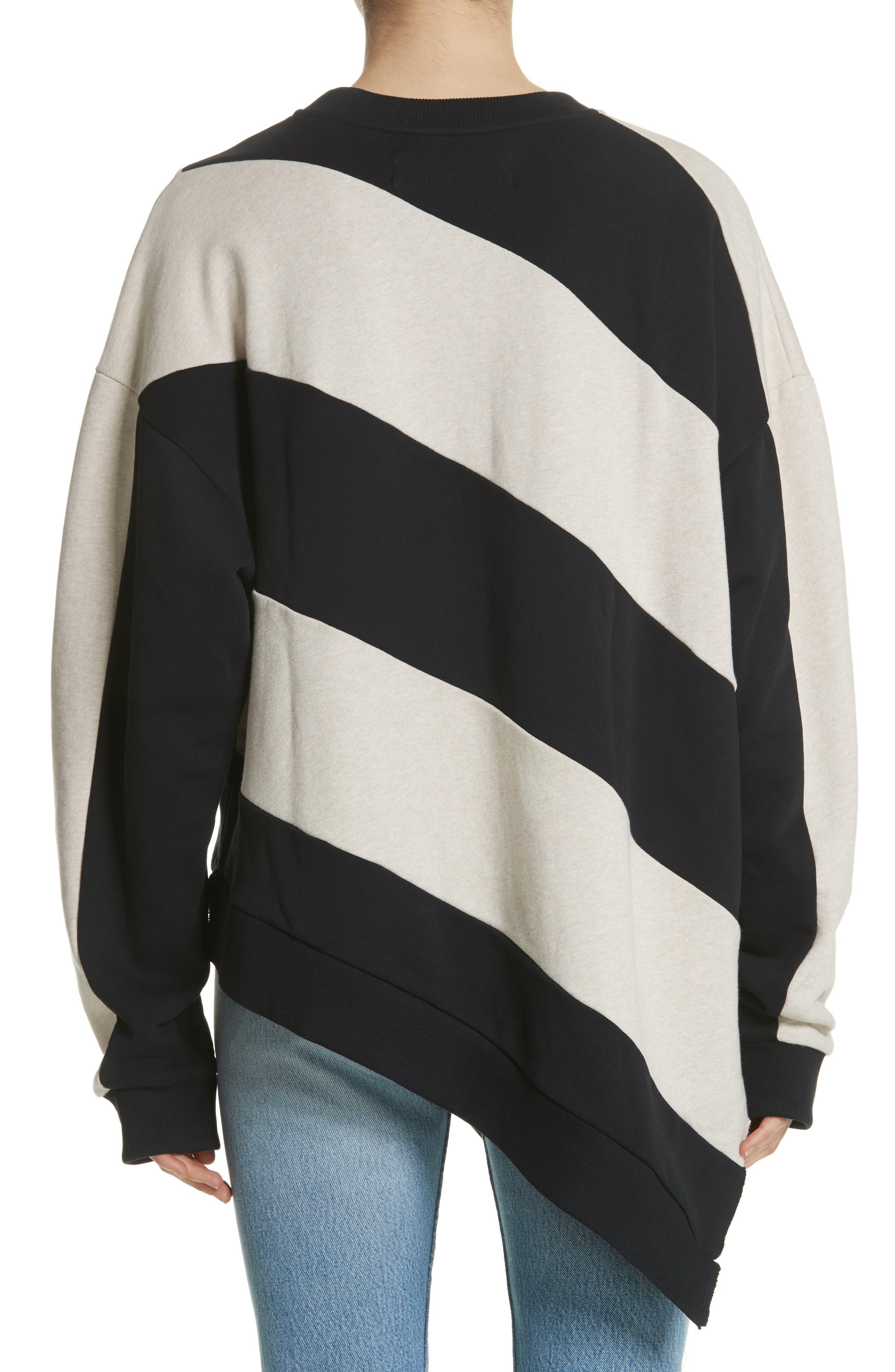 Marques'Almeida Asymmetrical Stripe Sweatshirt,                             Alternate thumbnail 2, color,                             250
