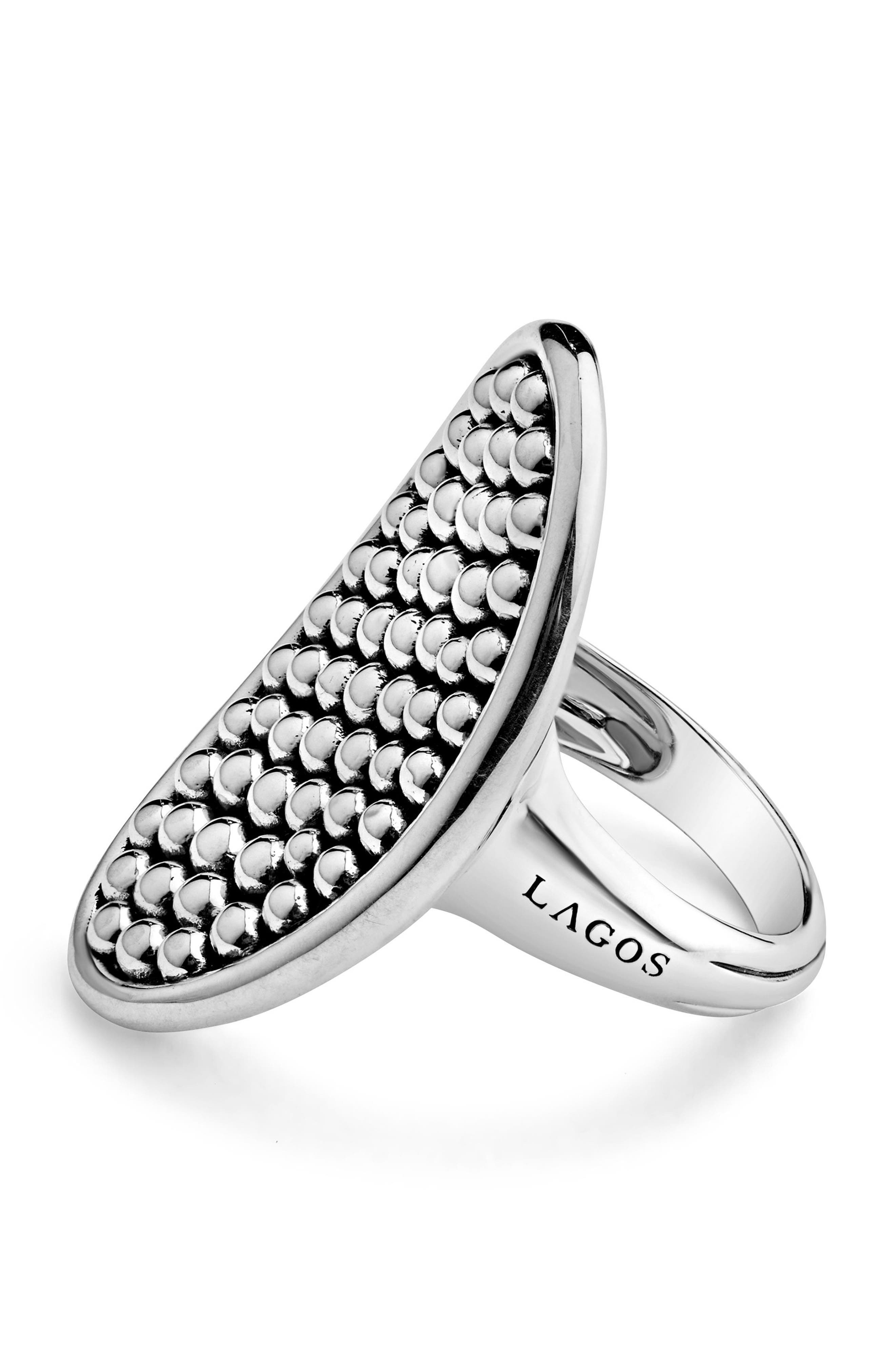 Bold Caviar Vertical Ellipse Ring,                             Alternate thumbnail 2, color,                             SILVER
