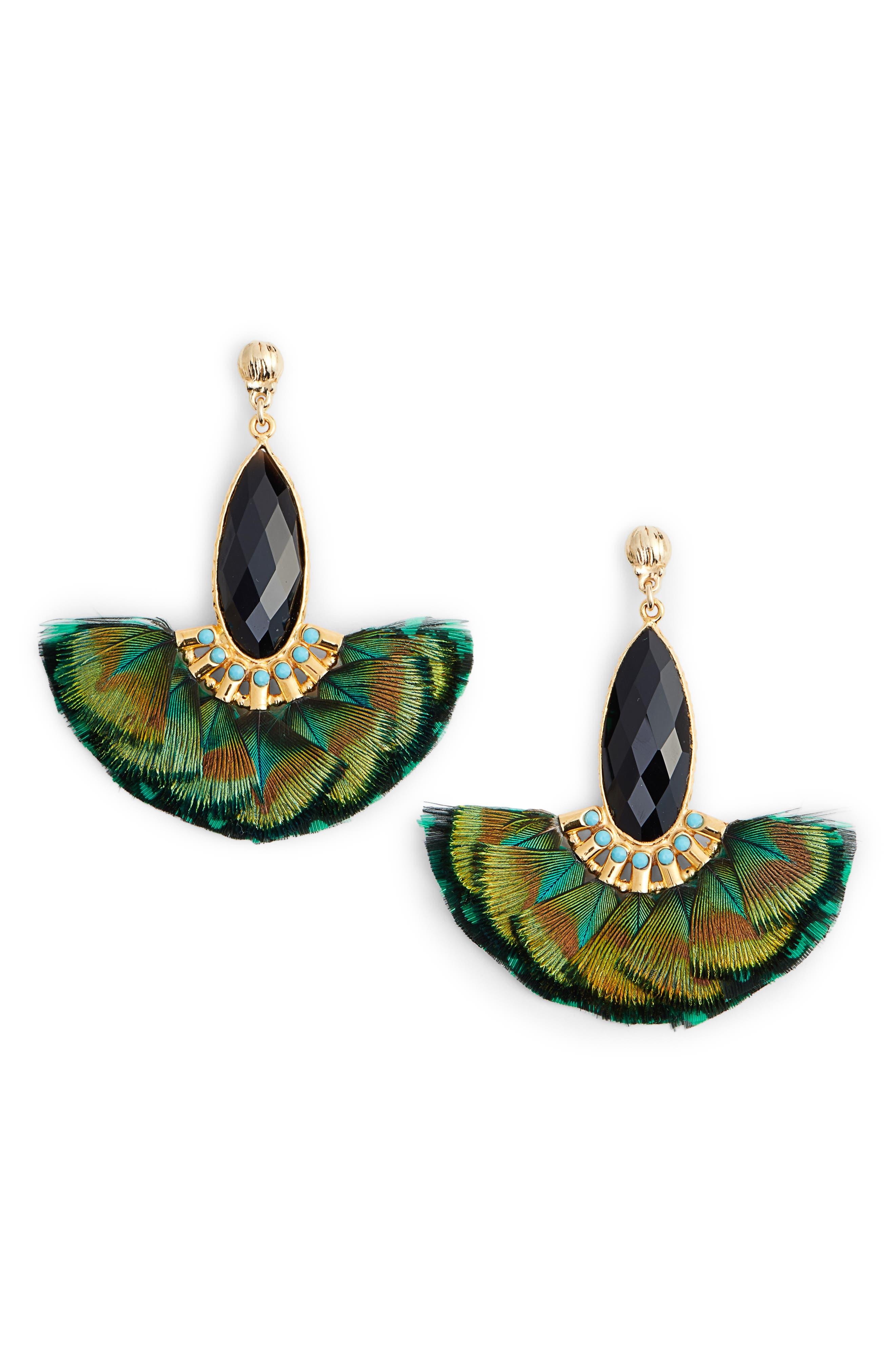 Mini Serti Paon Feathered Drop Earrings,                             Main thumbnail 1, color,                             KHAKI GREEN
