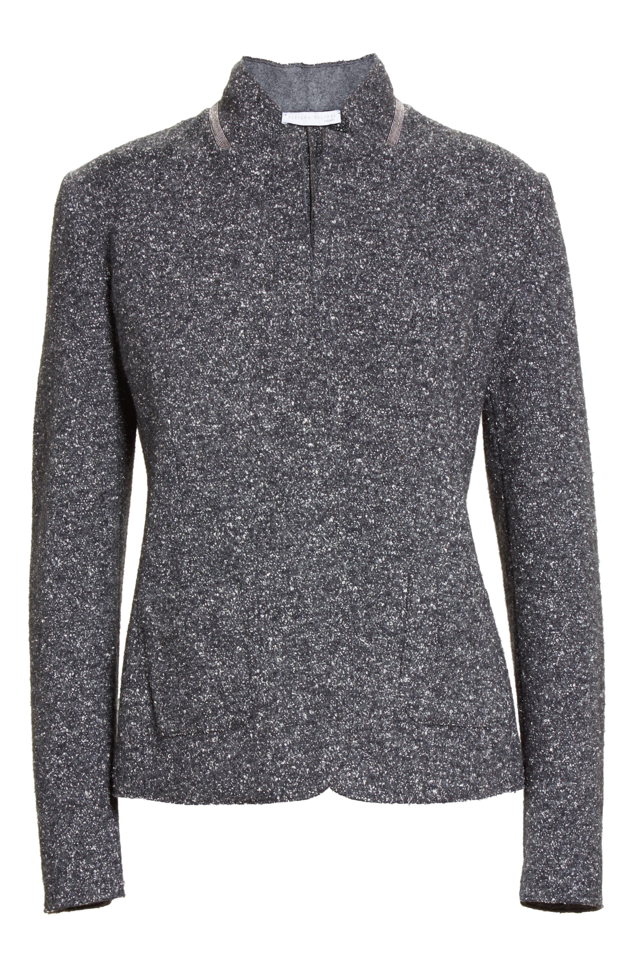 Pebble Tweed Knit Jacket,                             Alternate thumbnail 2, color,