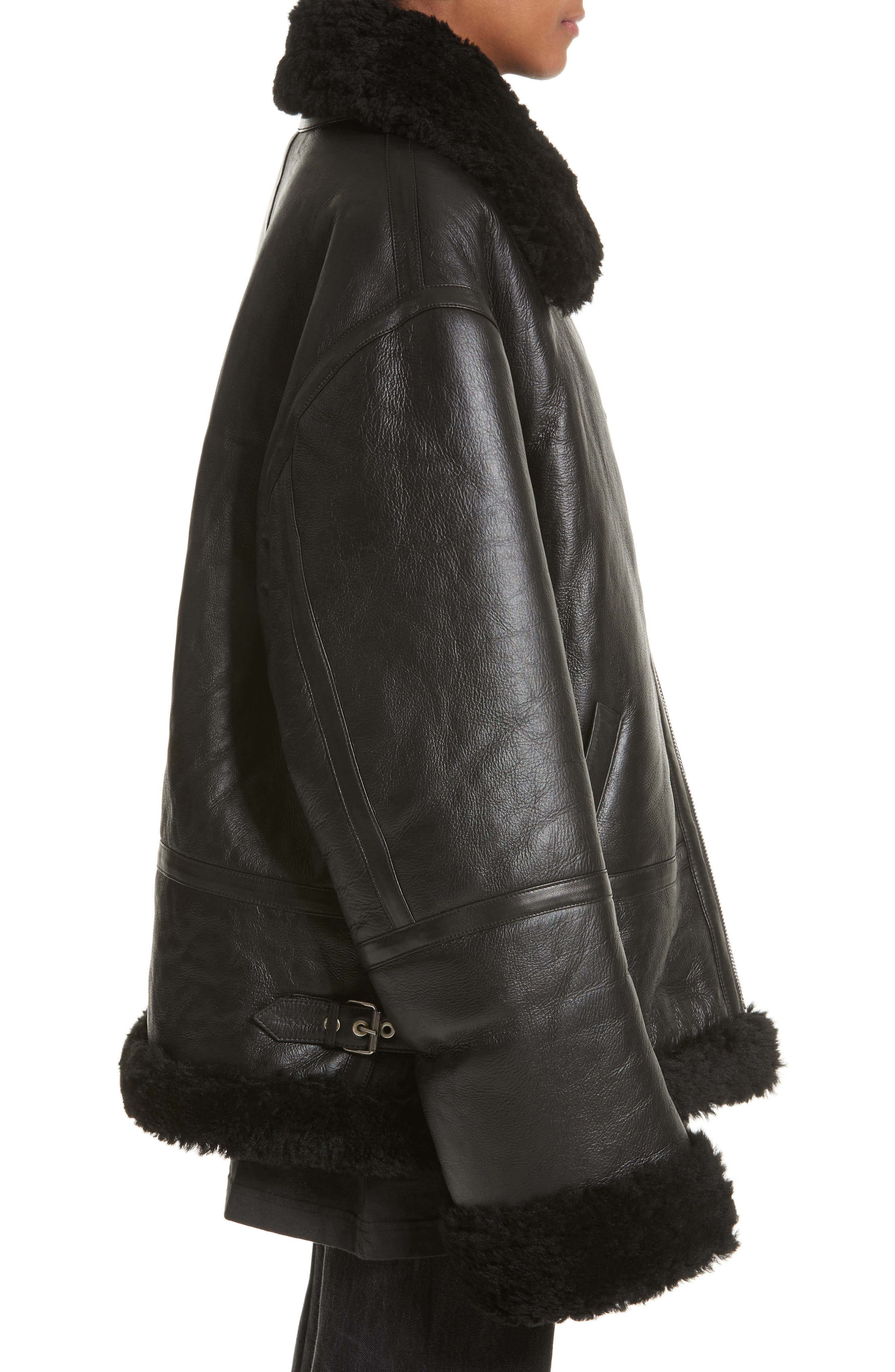 Genuine Shearling Jacket,                             Alternate thumbnail 3, color,                             001