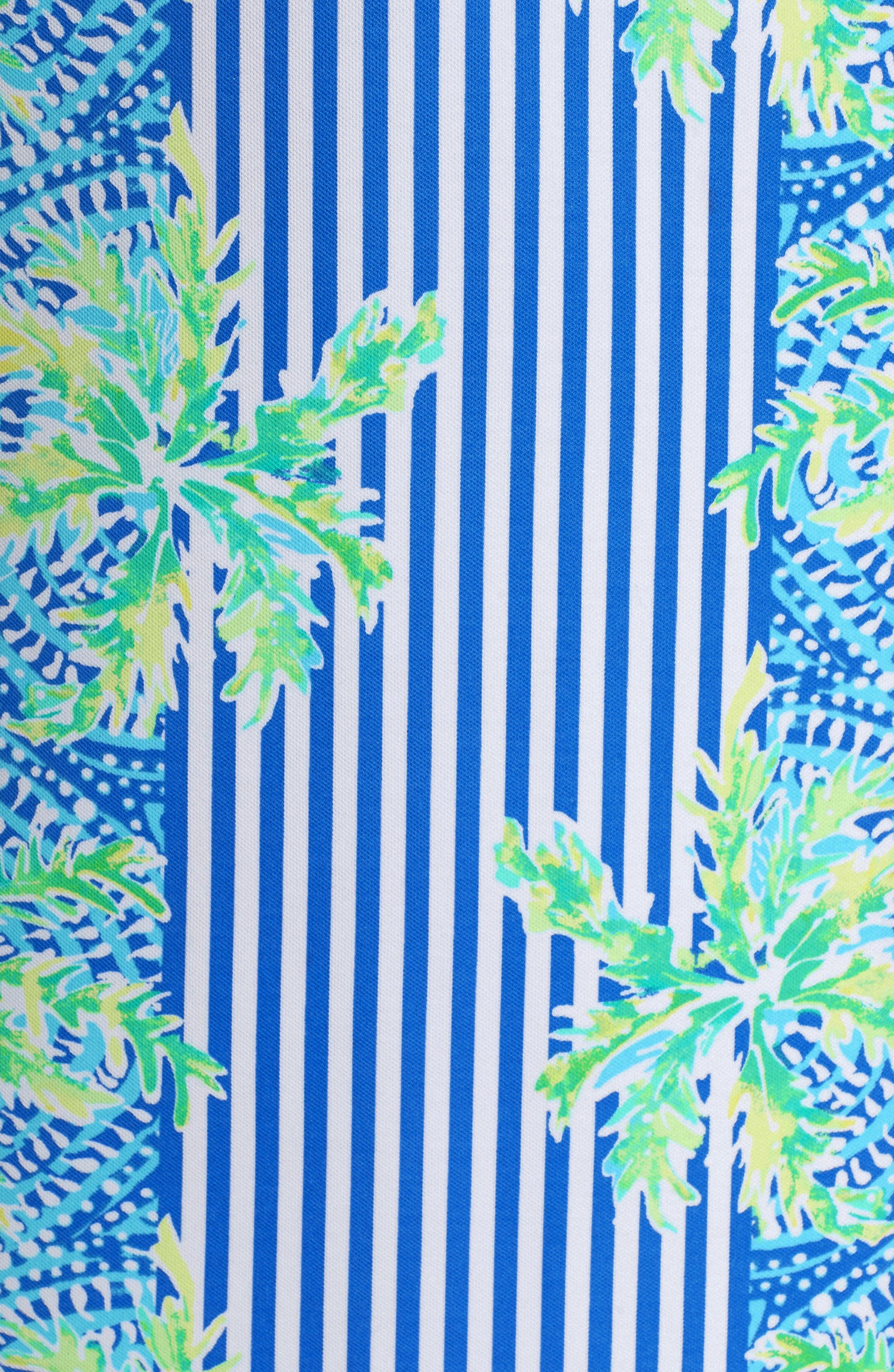 Chiara Stripe & Floral Print Dress,                             Alternate thumbnail 6, color,                             BENNET BLUE TROPIC LIKE ITS