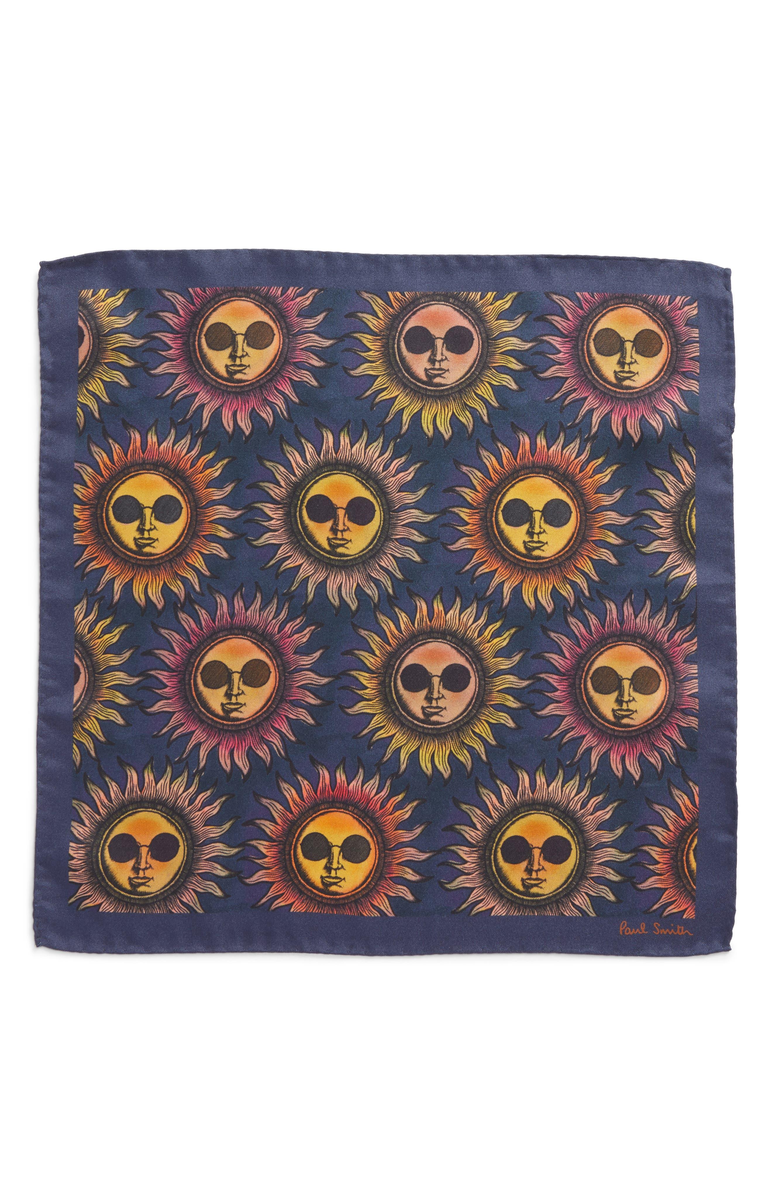 Sun Print Silk Pocket Square,                             Alternate thumbnail 2, color,                             415