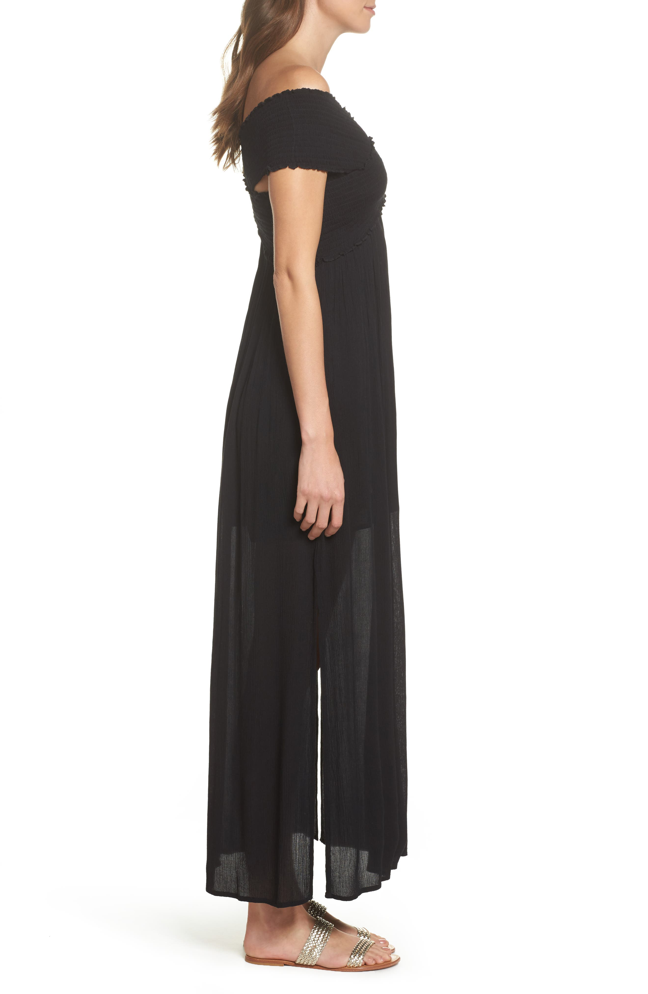 Smocked Off-the-Shoulder Cover-Up Maxi Dress,                             Alternate thumbnail 3, color,                             001