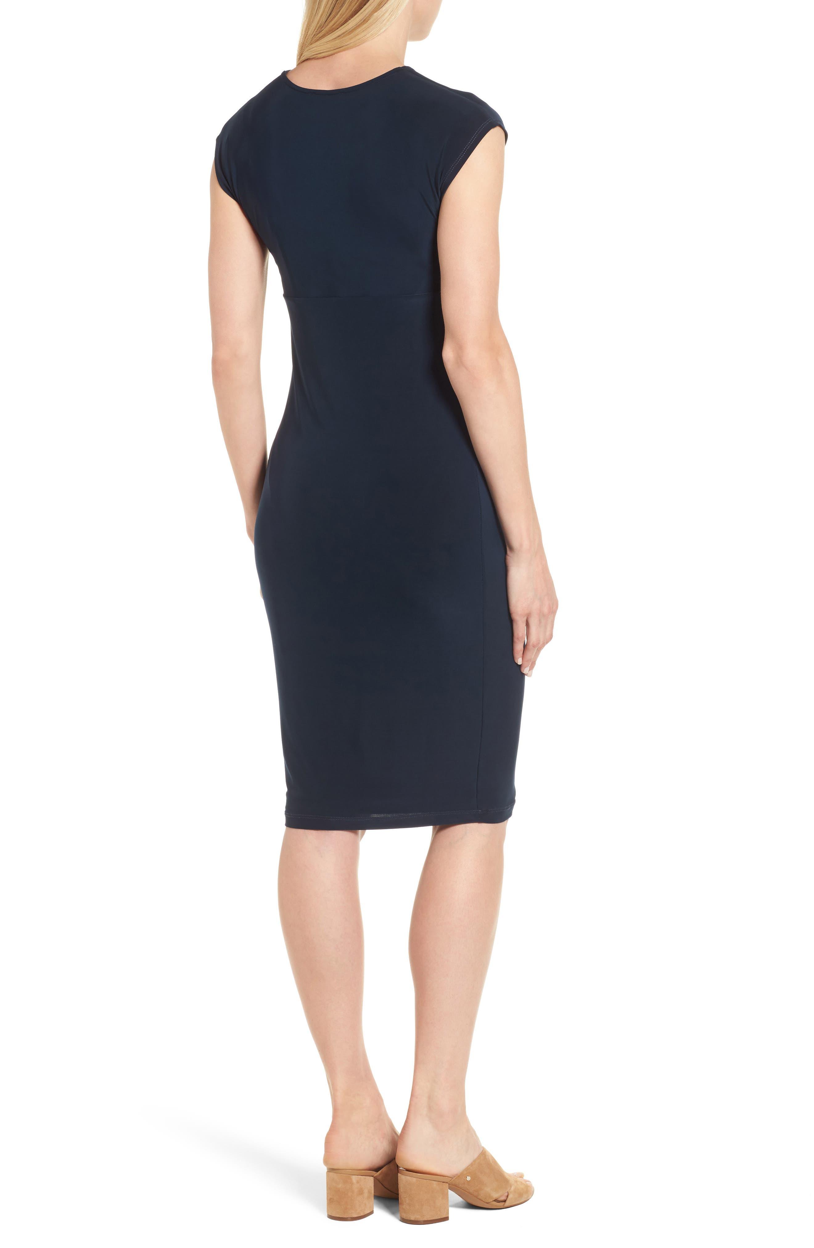 'Carla' Knot Front Jersey Maternity Dress,                             Alternate thumbnail 2, color,                             DARKEST NAVY